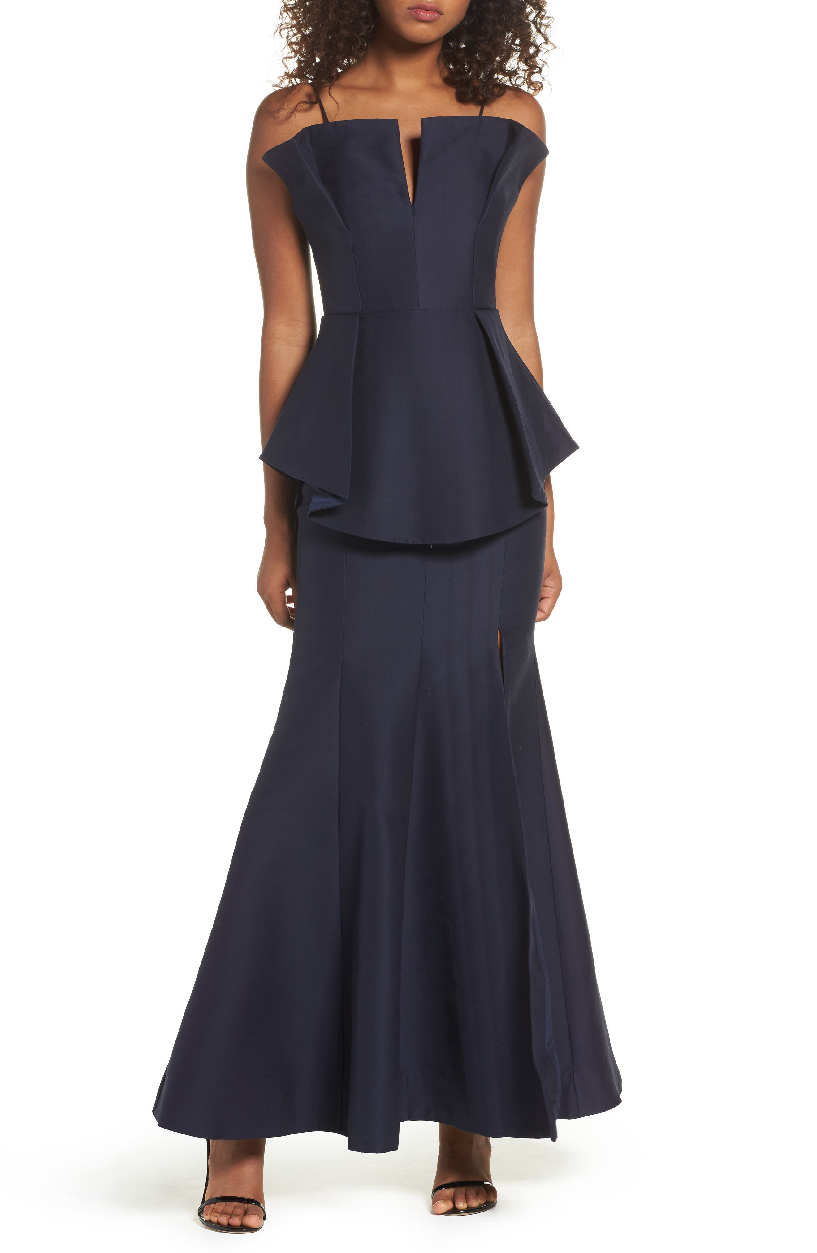 C/MEO Collective Conduit Pleat Peplum Trumpet Gown
