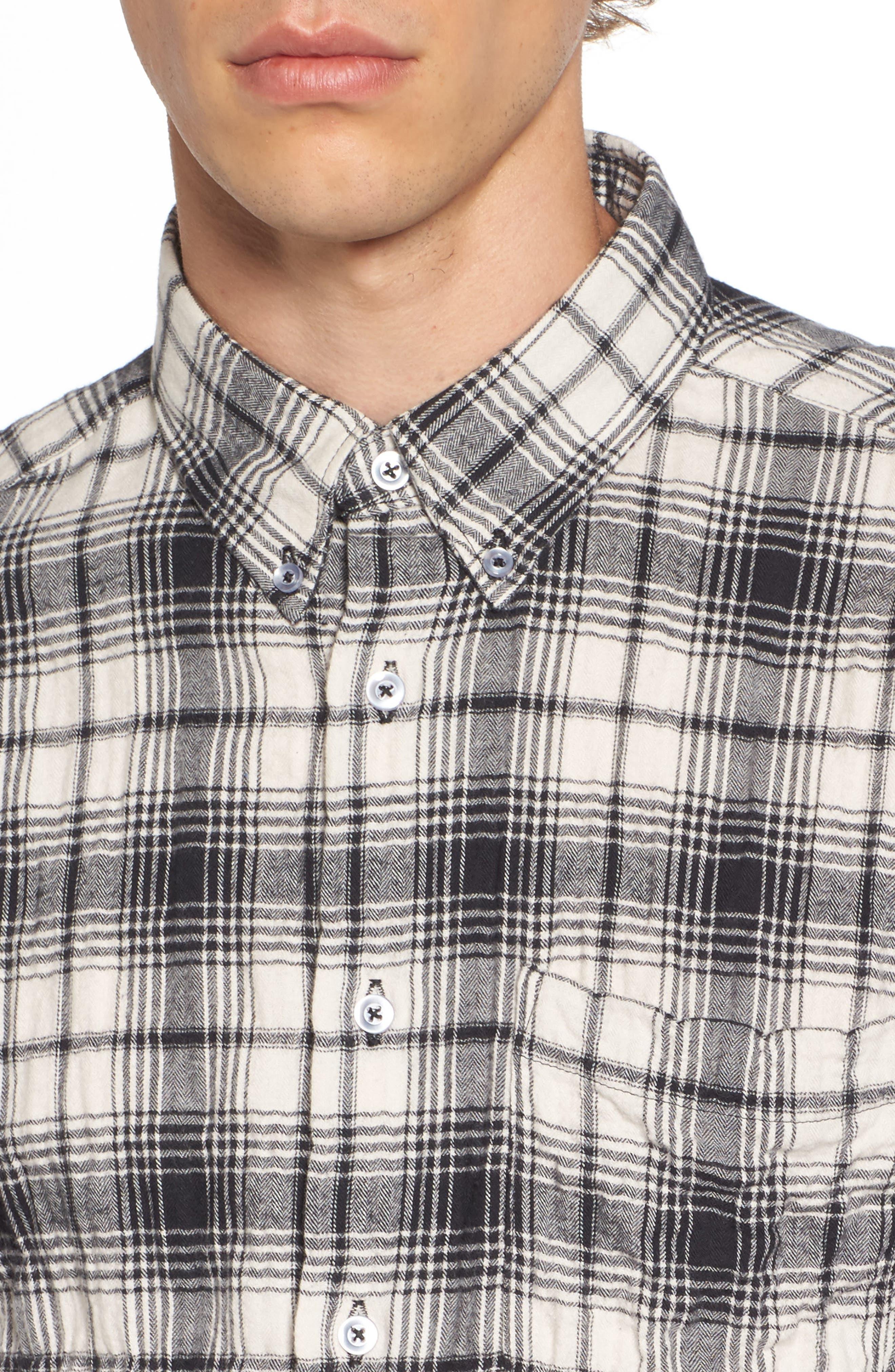 Regular Fit Plaid Flannel Sport Shirt,                             Alternate thumbnail 4, color,                             White