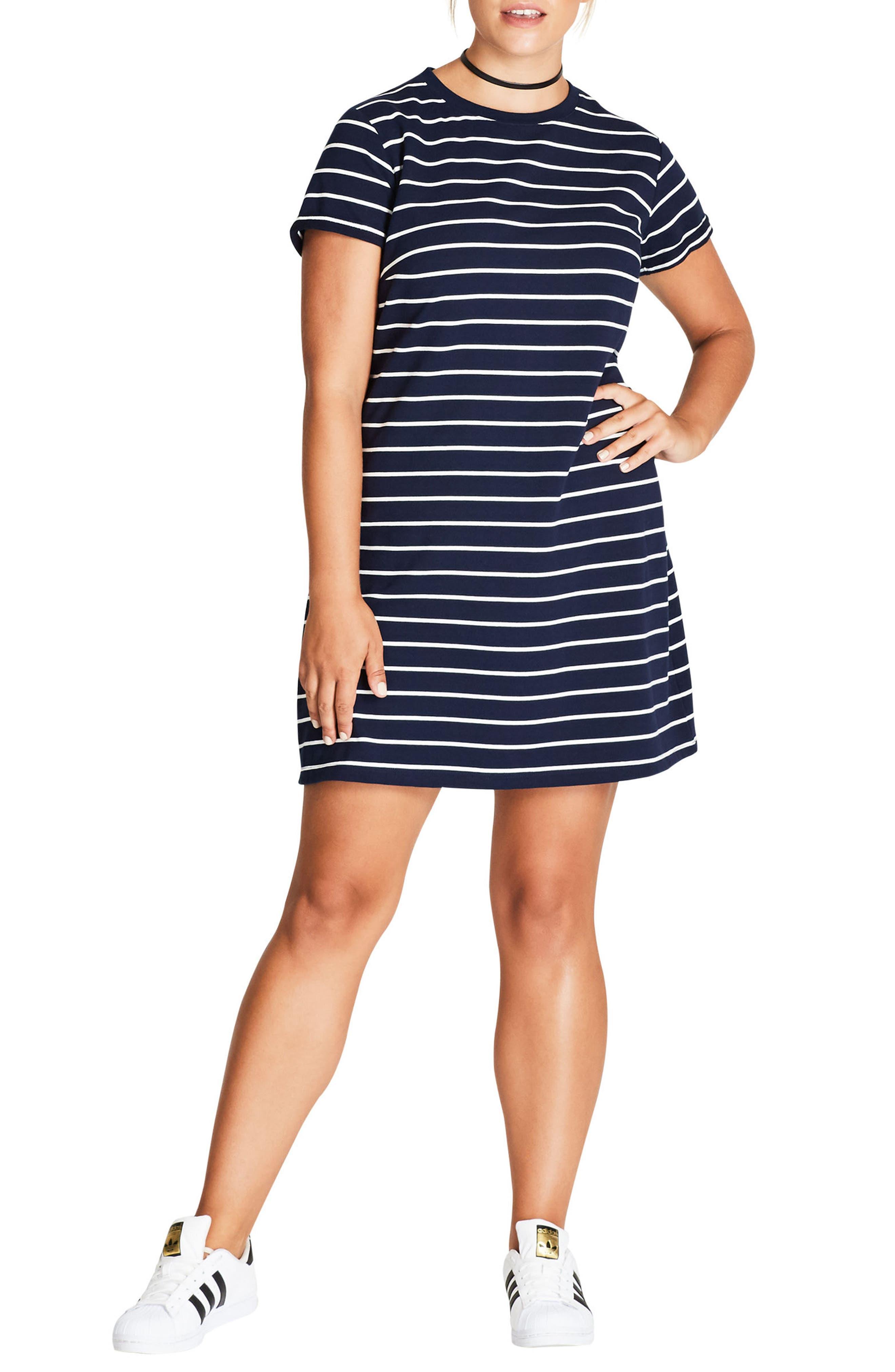 Stripe T-Shirt Dress,                         Main,                         color, Navy