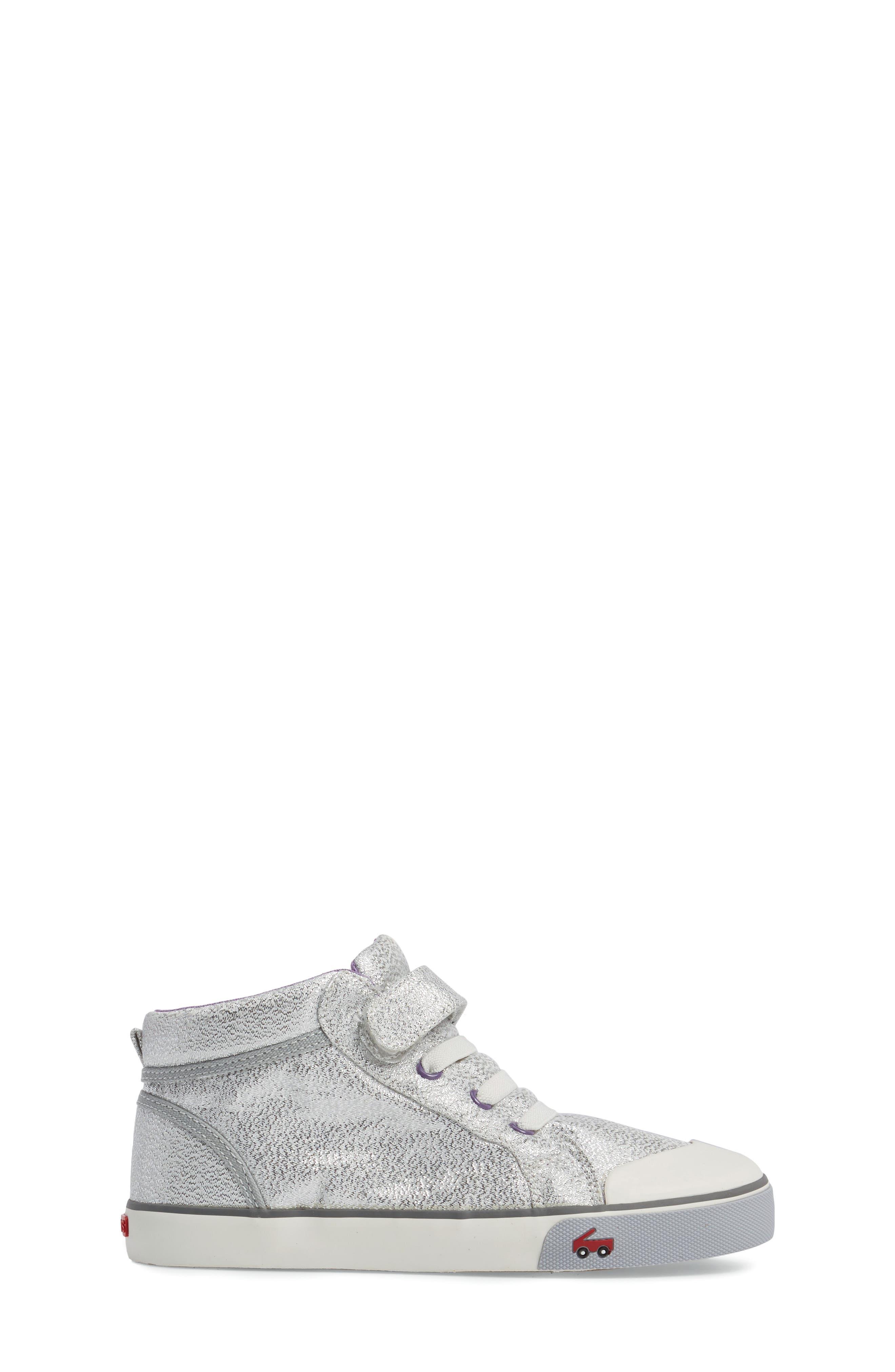 Peyton Metallic Mid Top Sneaker,                             Alternate thumbnail 3, color,                             Silver