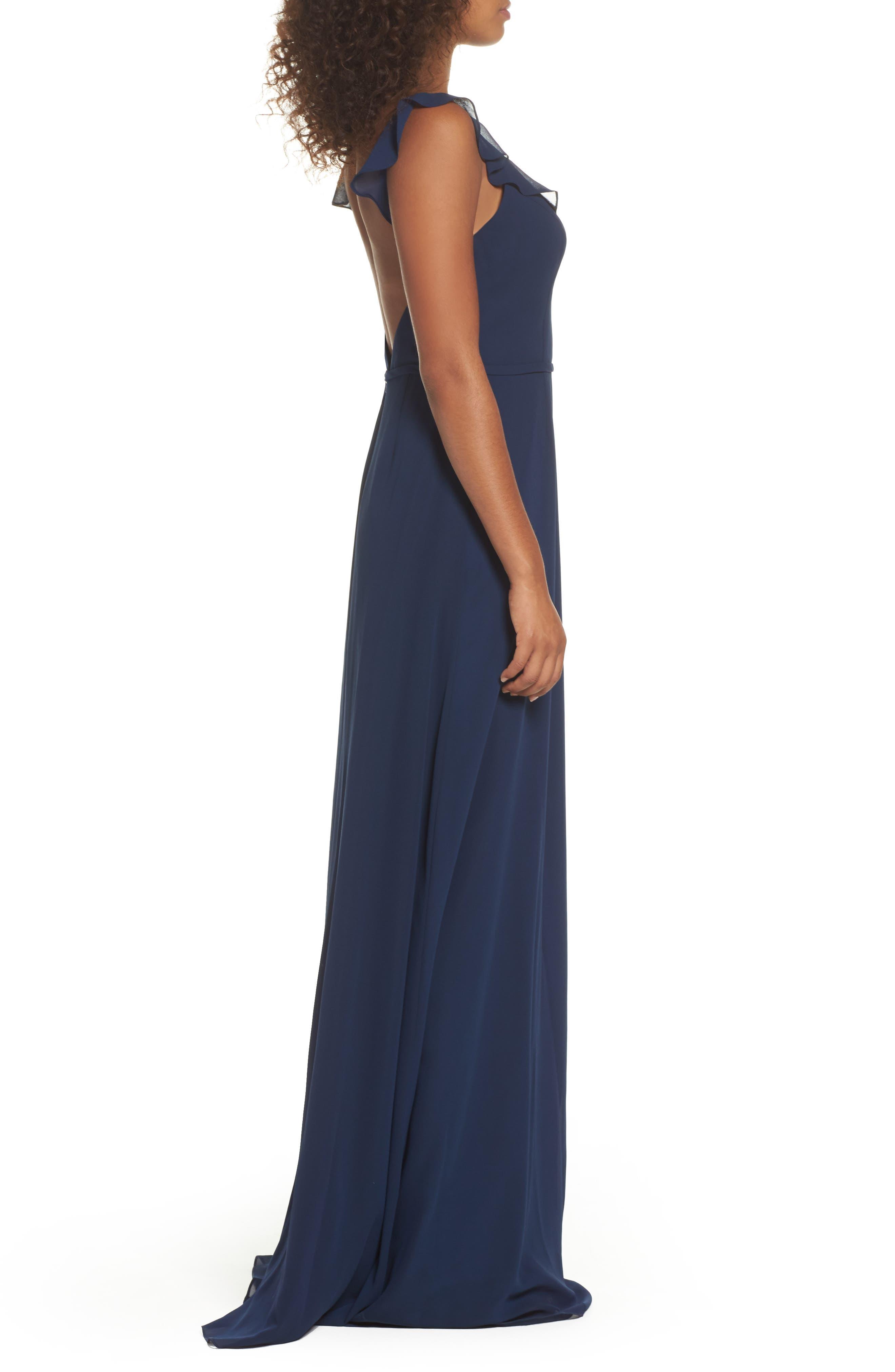 Alternate Image 3  - Monique Lhuillier Bridesmaids Keira Backless Chiffon Gown