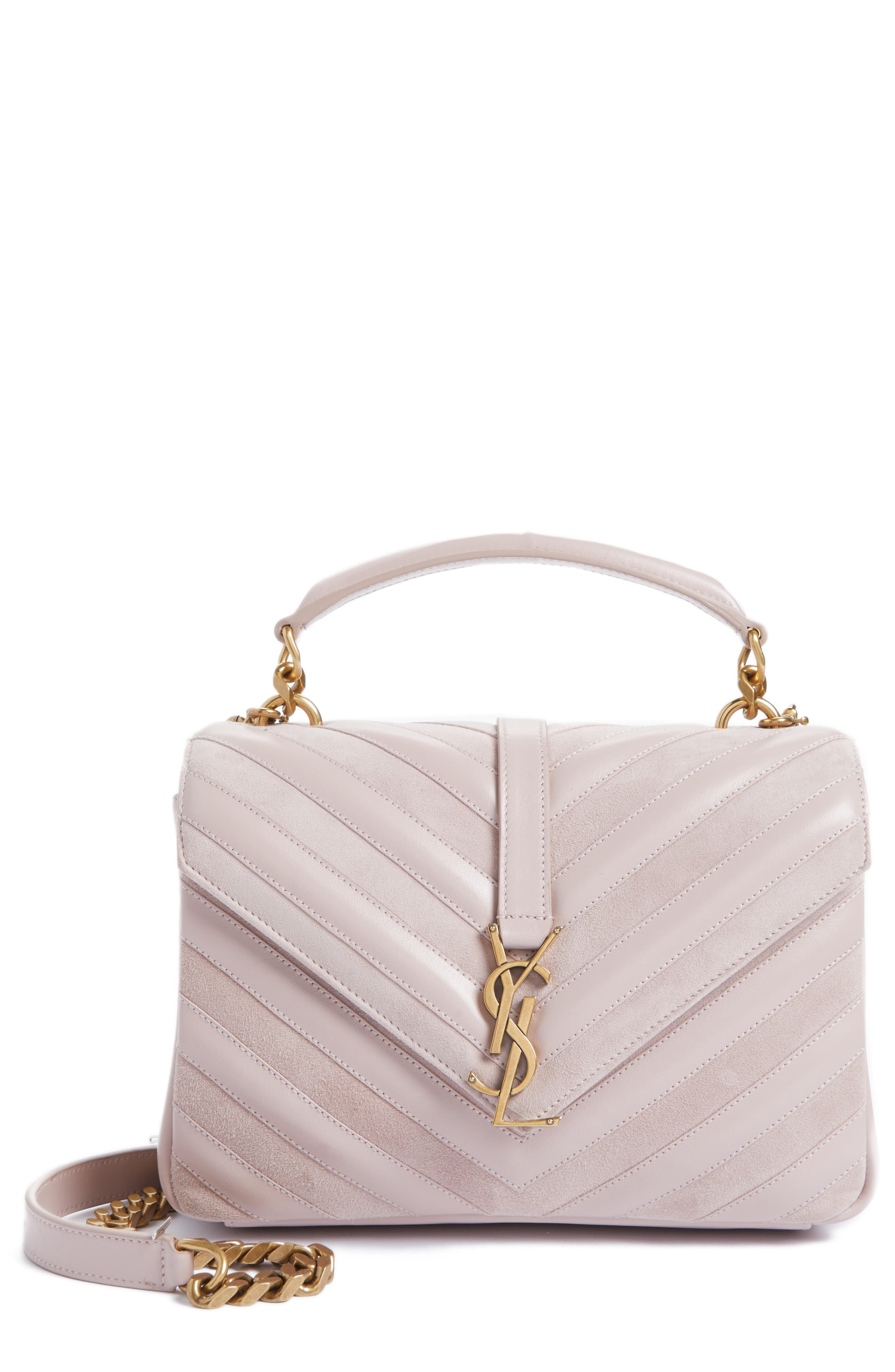 Alternate Image 1 Selected - Saint Laurent Medium College Patchwork Suede & Leather Shoulder Bag