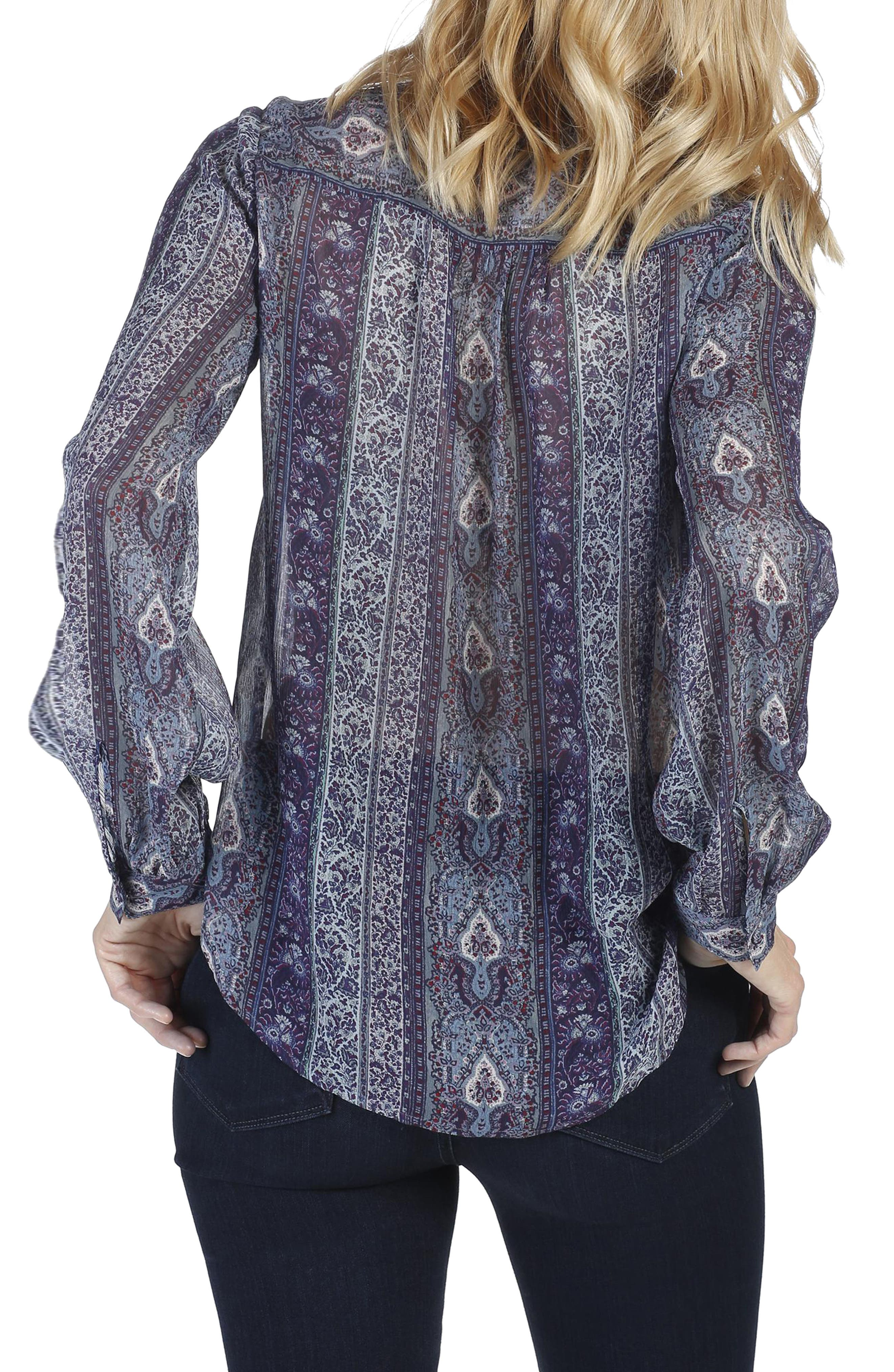 Dion Silk Georgette Blouse,                             Alternate thumbnail 2, color,                             India Ink Multi
