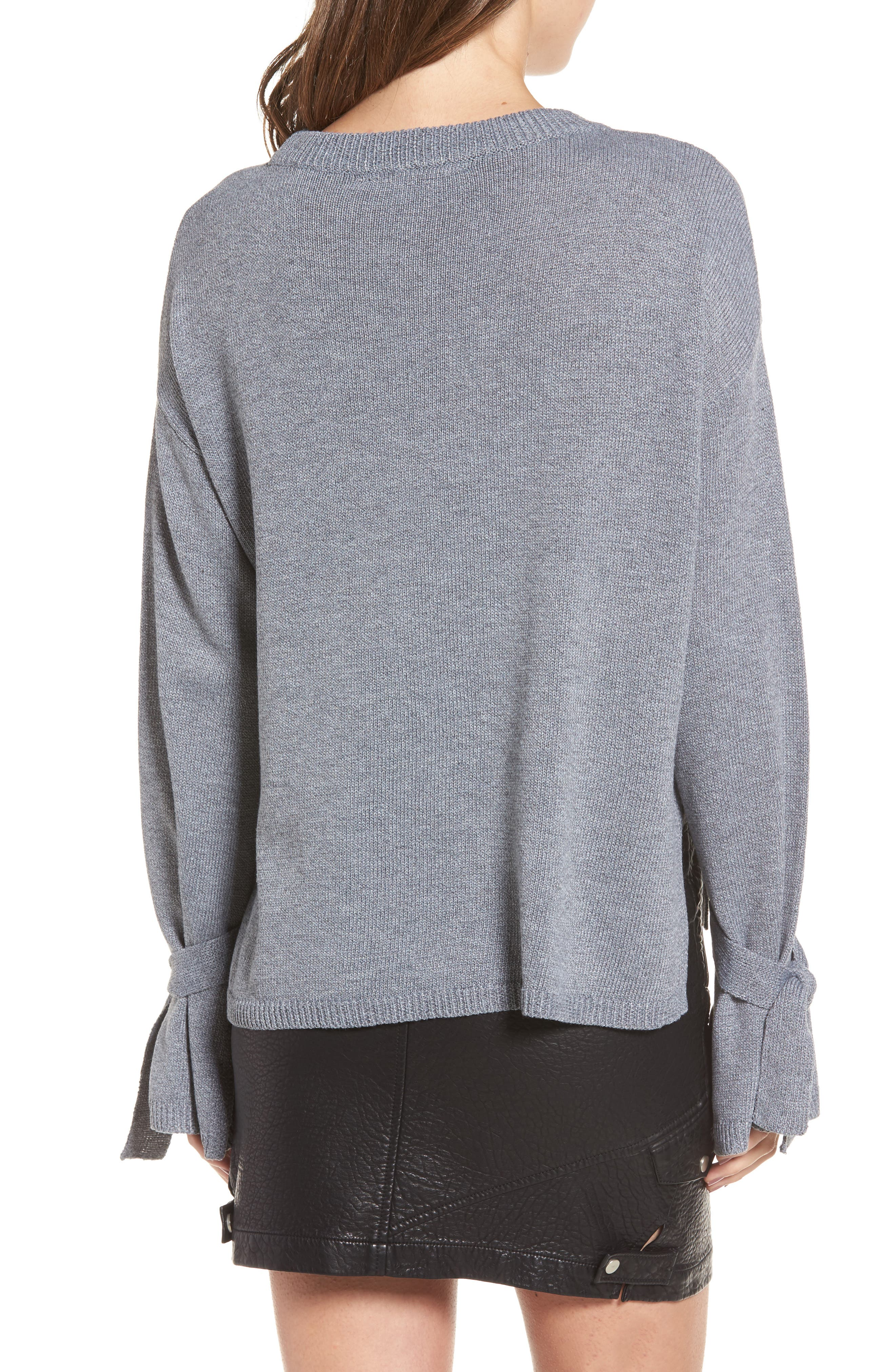 Tie Sleeve Sweater,                             Alternate thumbnail 2, color,                             Heather Grey