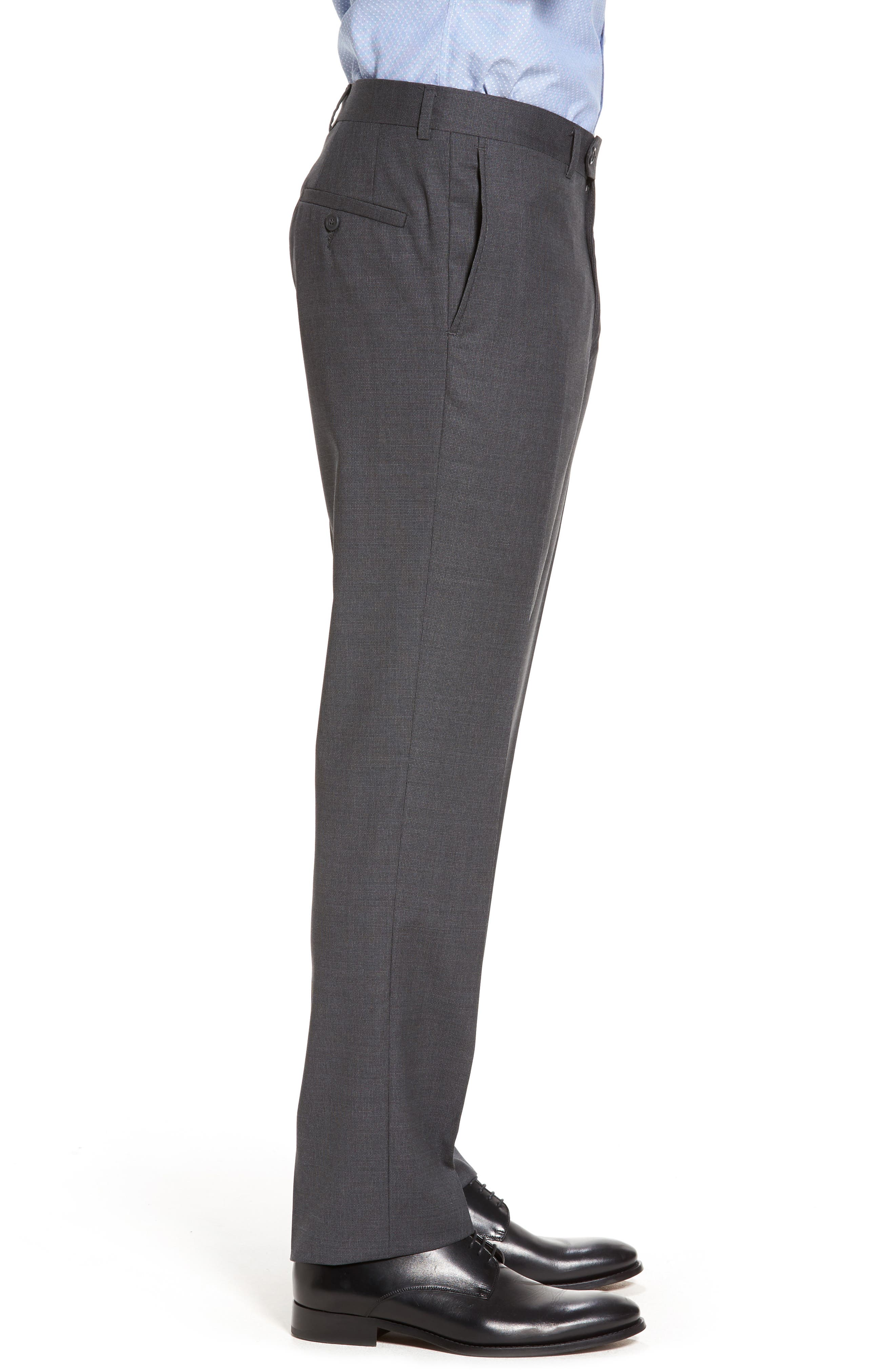 Flat Front Solid Wool Suit Trousers,                             Alternate thumbnail 3, color,                             Charcoal