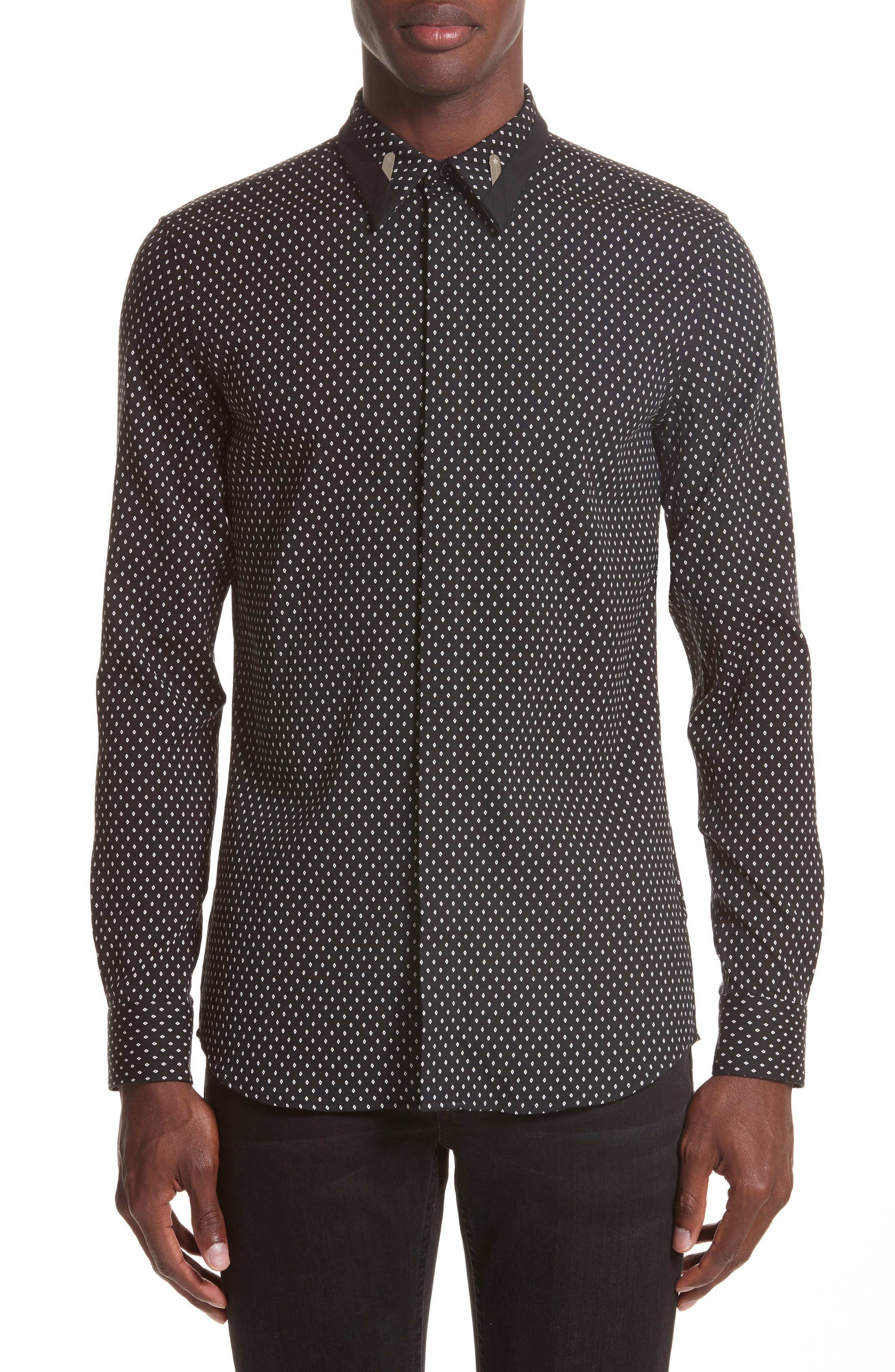 Jacquard Collar Stay Shirt,                         Main,                         color, Black