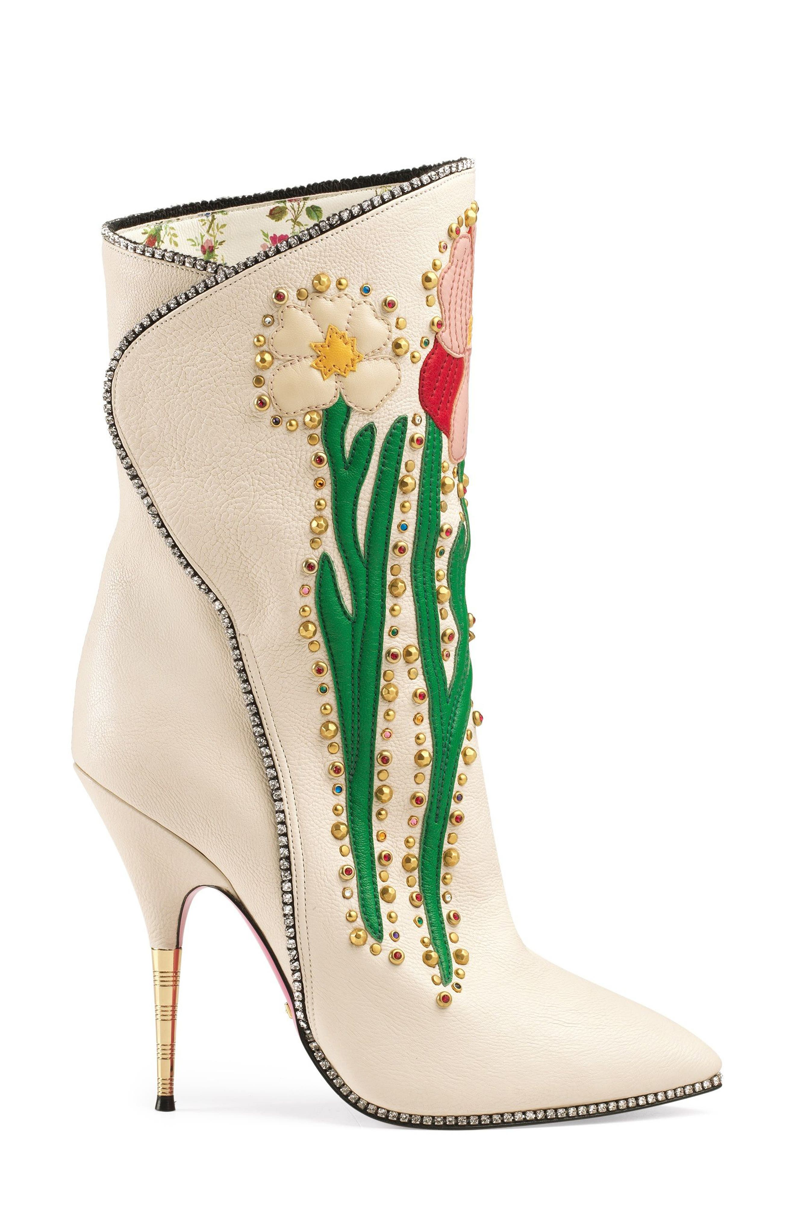 Fosca Floral Embellished Pointy Toe Boot,                             Alternate thumbnail 5, color,                             White Floral