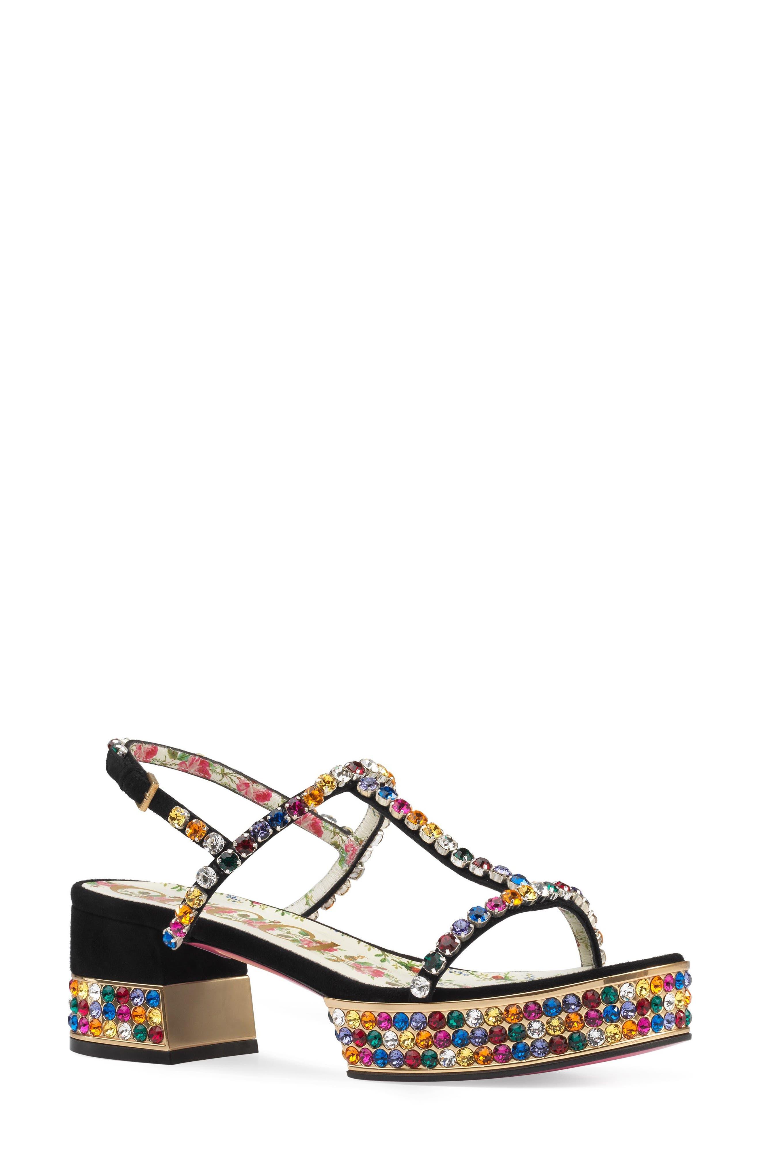 Mira Crystal Embellished Platform Sandal,                         Main,                         color, Black Multi