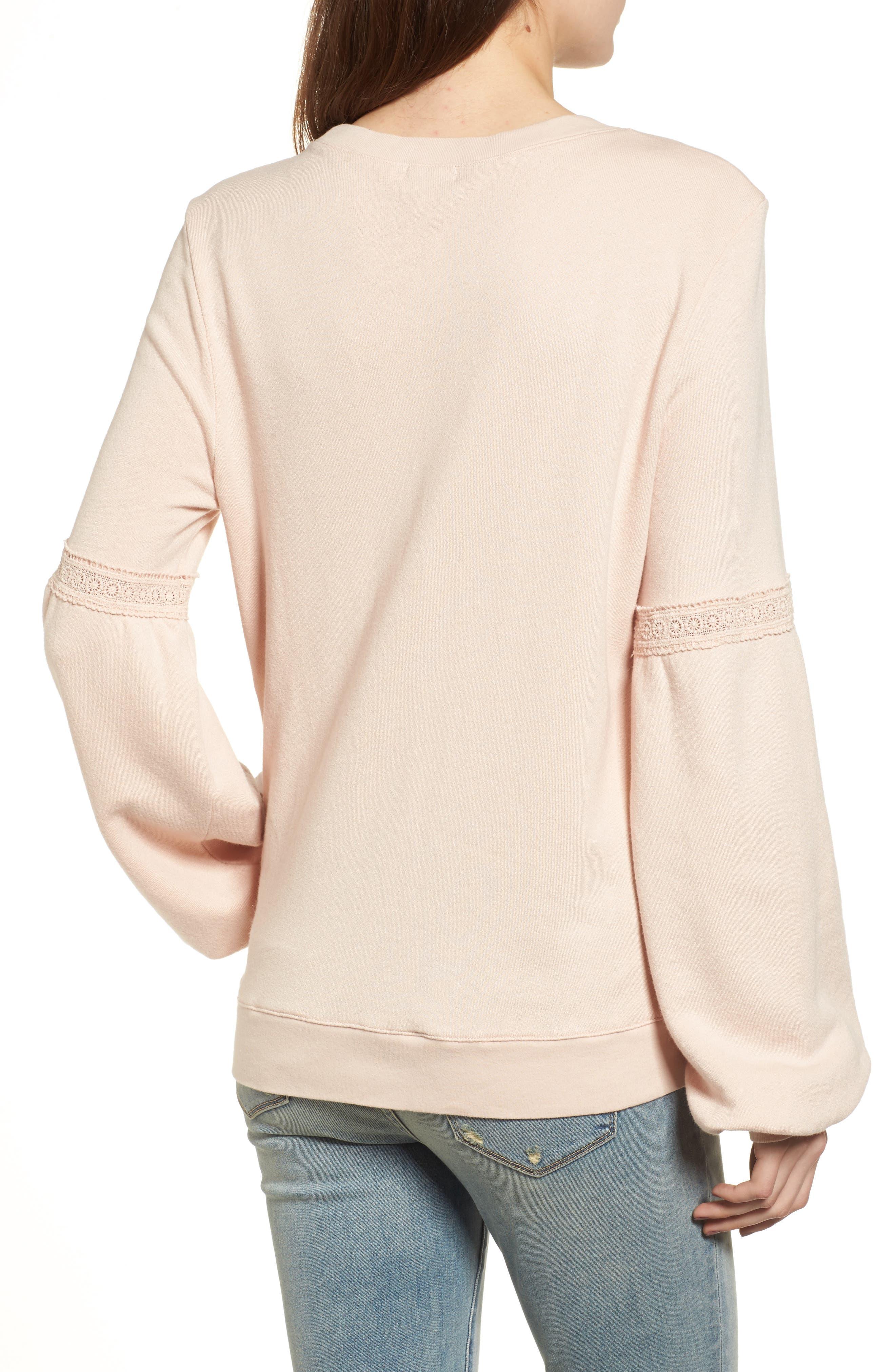 Blouson Sleeve Sweatshirt,                             Alternate thumbnail 2, color,                             Ivory Shell