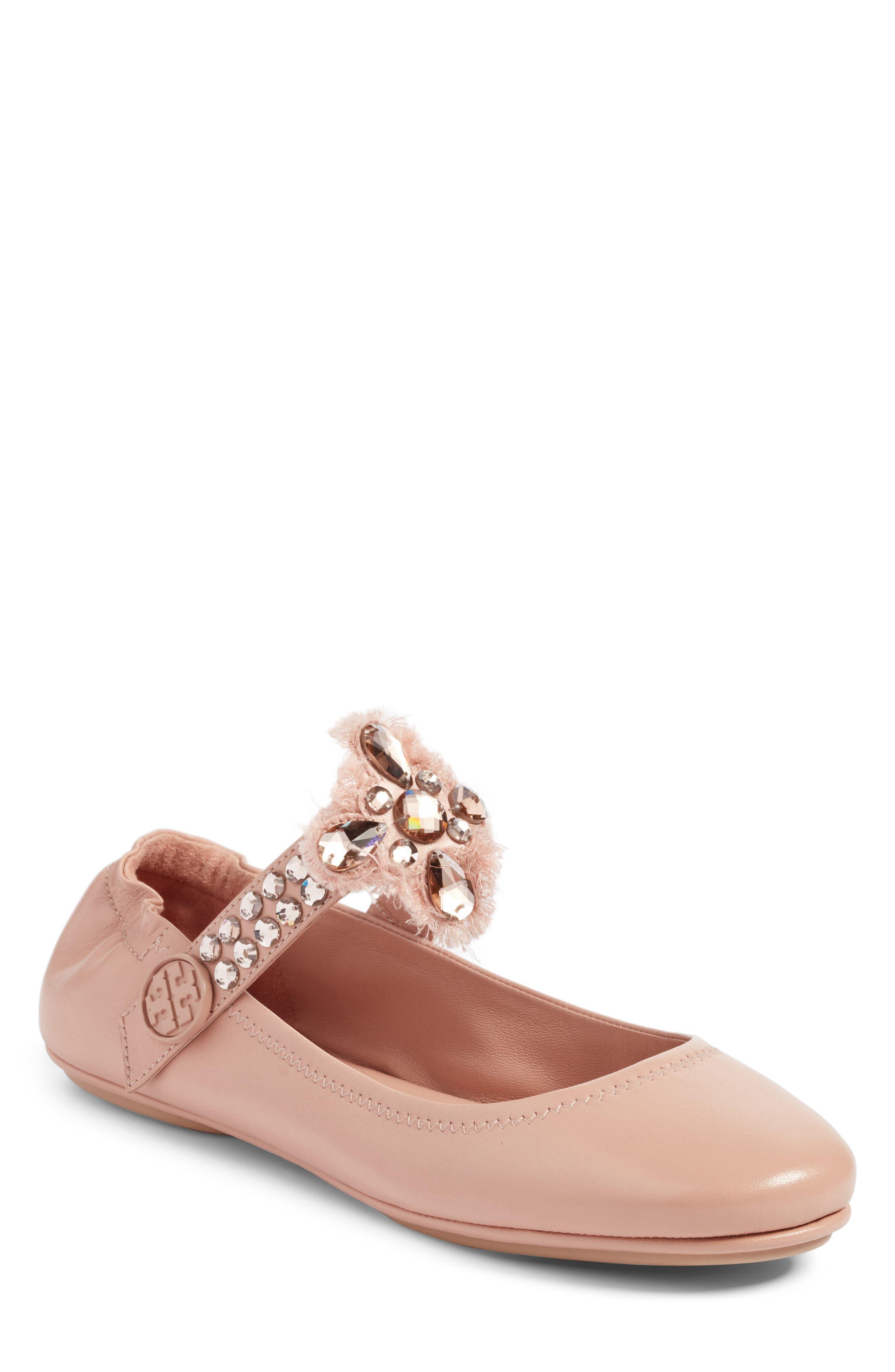 Main Image - Tory Burch Minnie Embellished Convertible Strap Ballet Flat (Women)