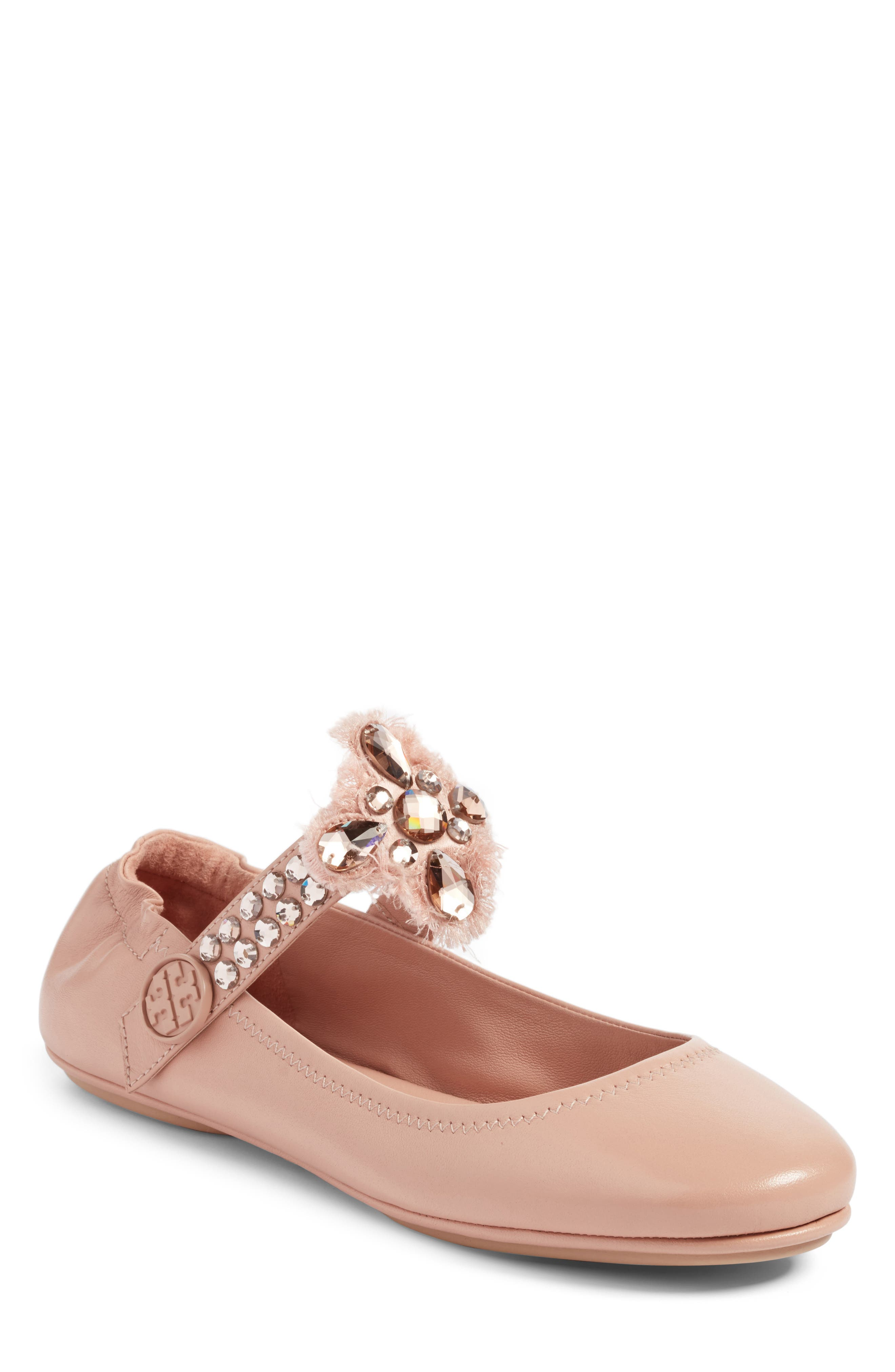 Tory Burch Minnie Embellished Convertible Strap Ballet Flat (Women)