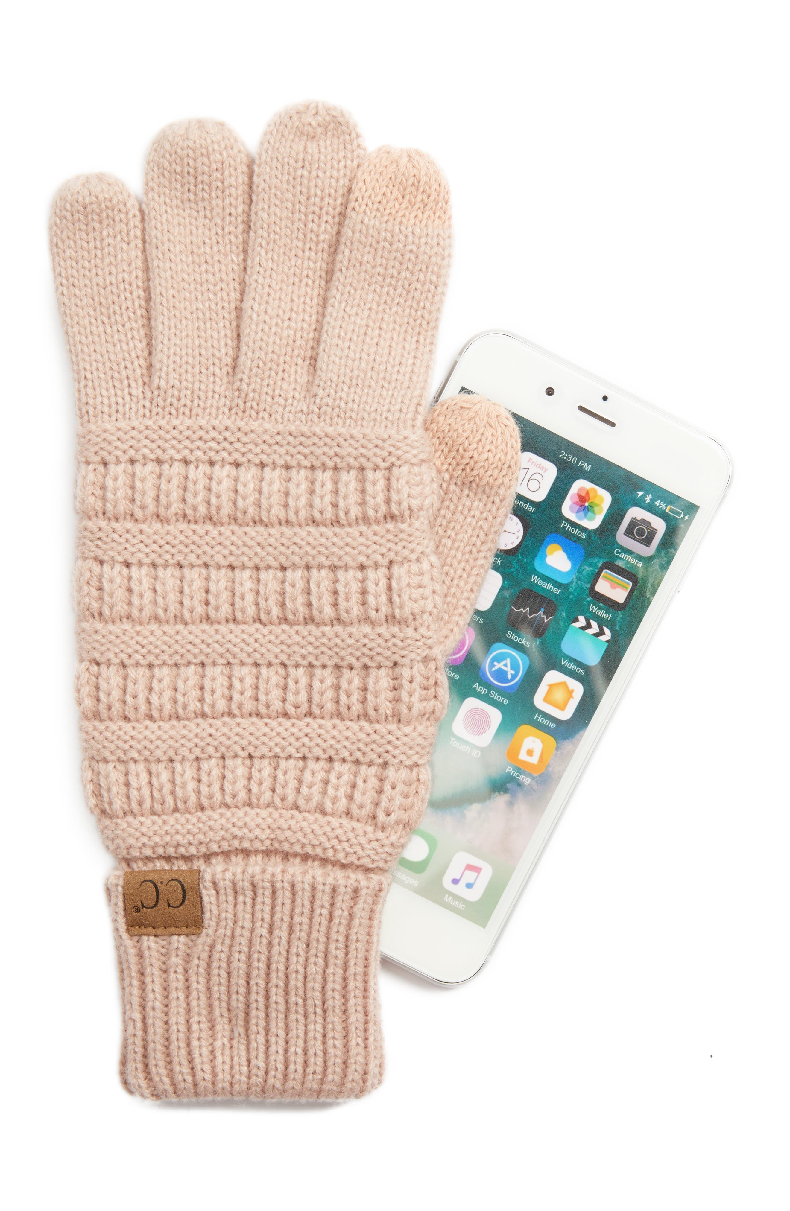 Alternate Image 2  - CC Rib Knit Tech Gloves