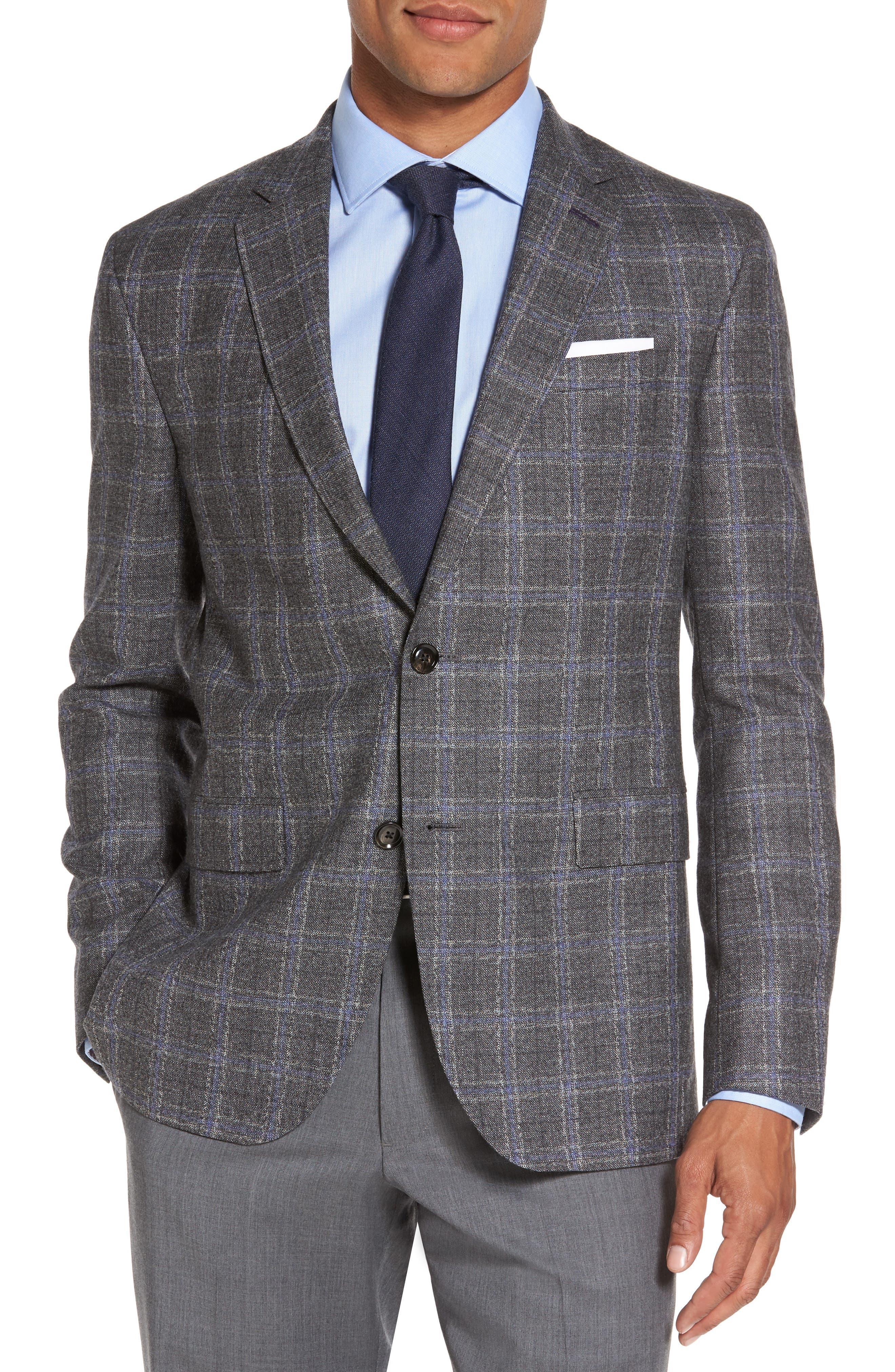 Tivoli Trim Fit Plaid Wool Sport Coat,                         Main,                         color, Light Grey