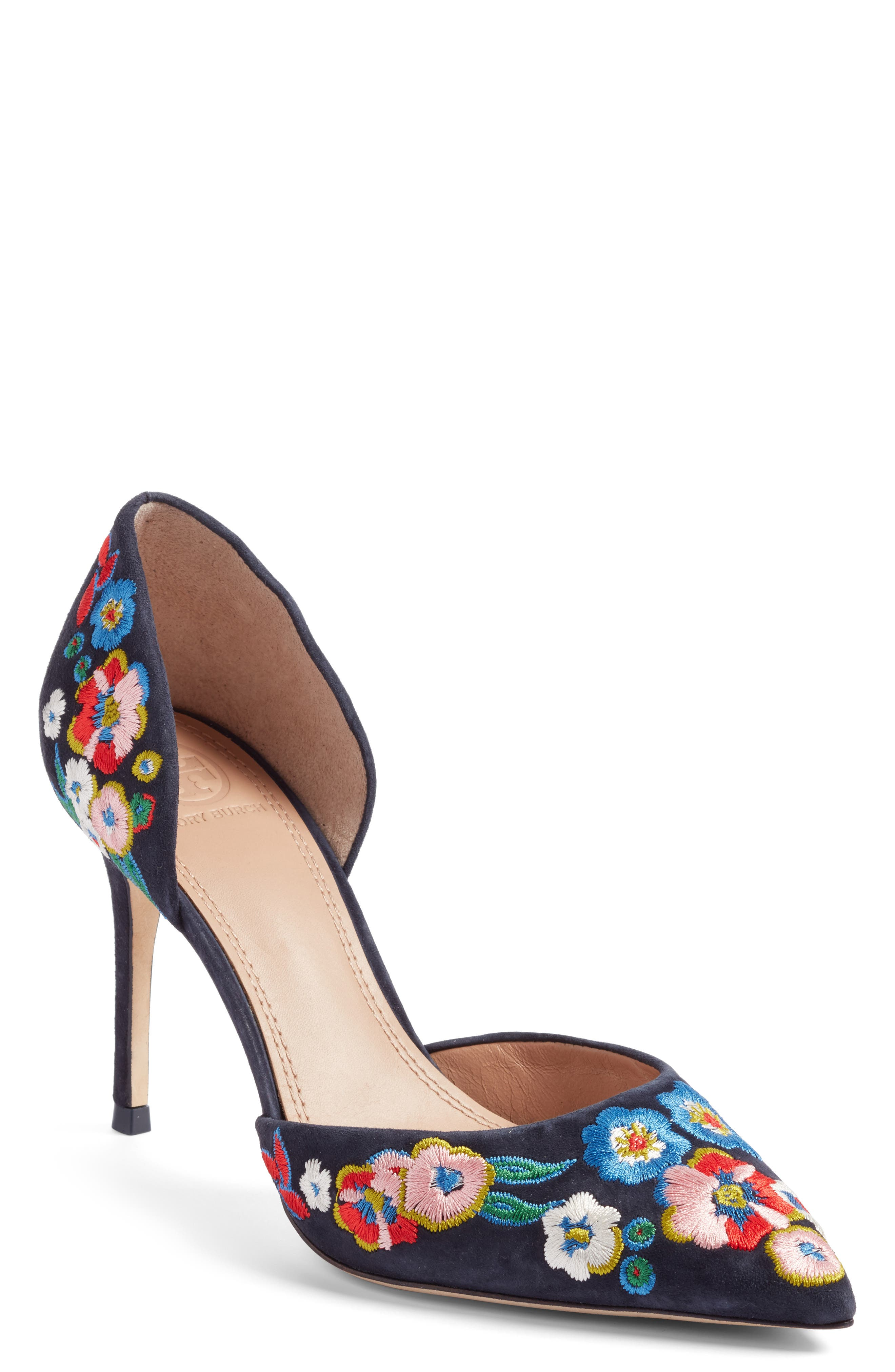Tory Burch Rosemont Embroidered Pansy d'Orsay Pump (Women)