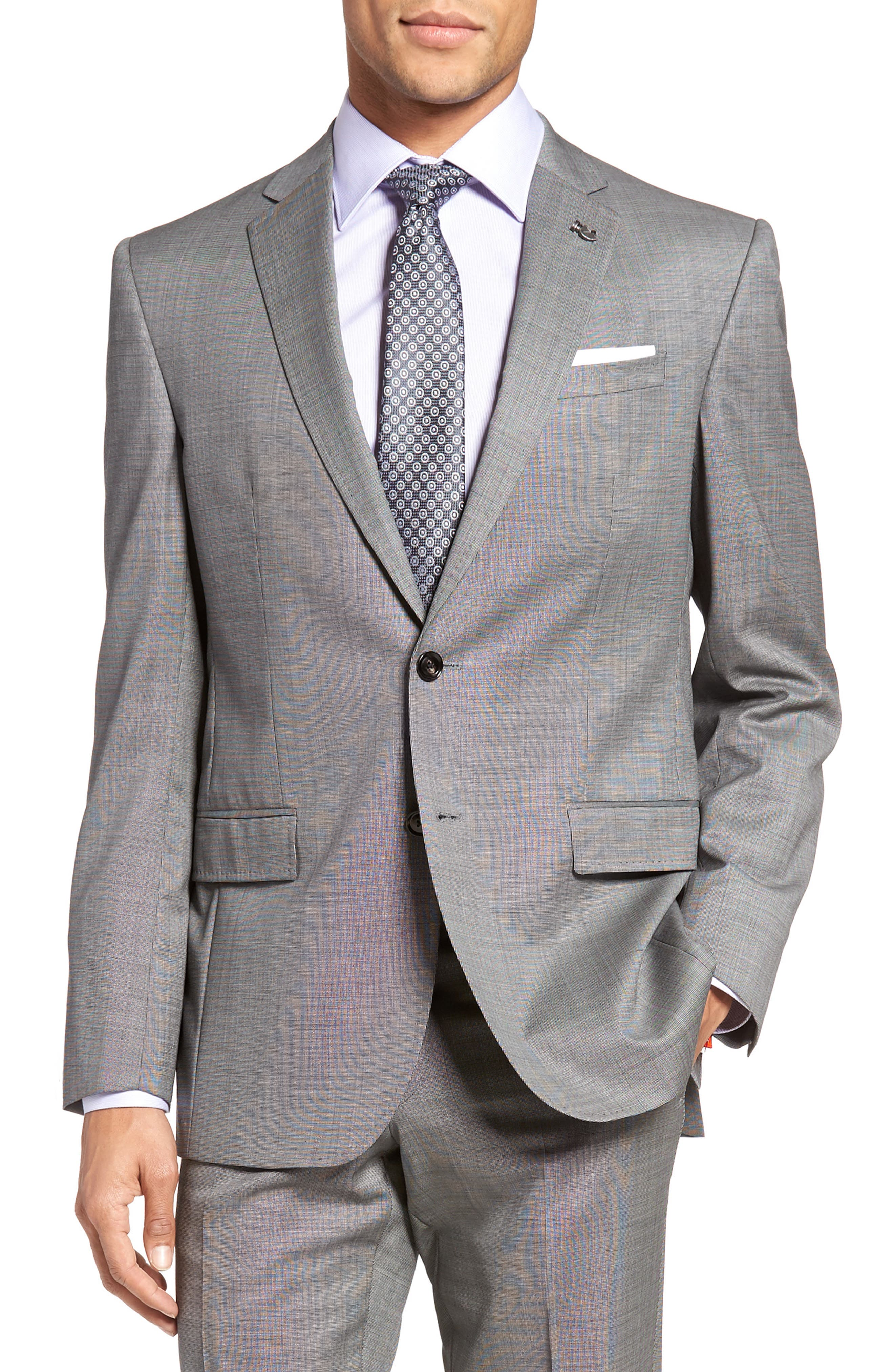 Jay Trim Fit Solid Wool Suit,                             Alternate thumbnail 5, color,                             Light Grey