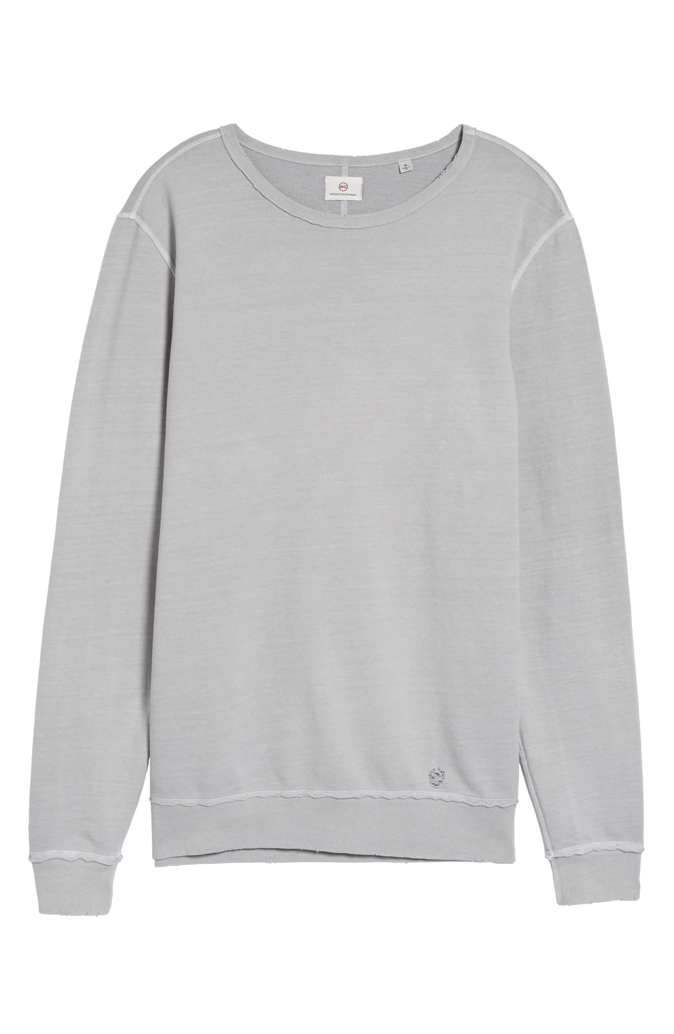 Brendan Raw Edge Crewneck Sweatshirt,                             Alternate thumbnail 5, color,                             Pigment Chrome