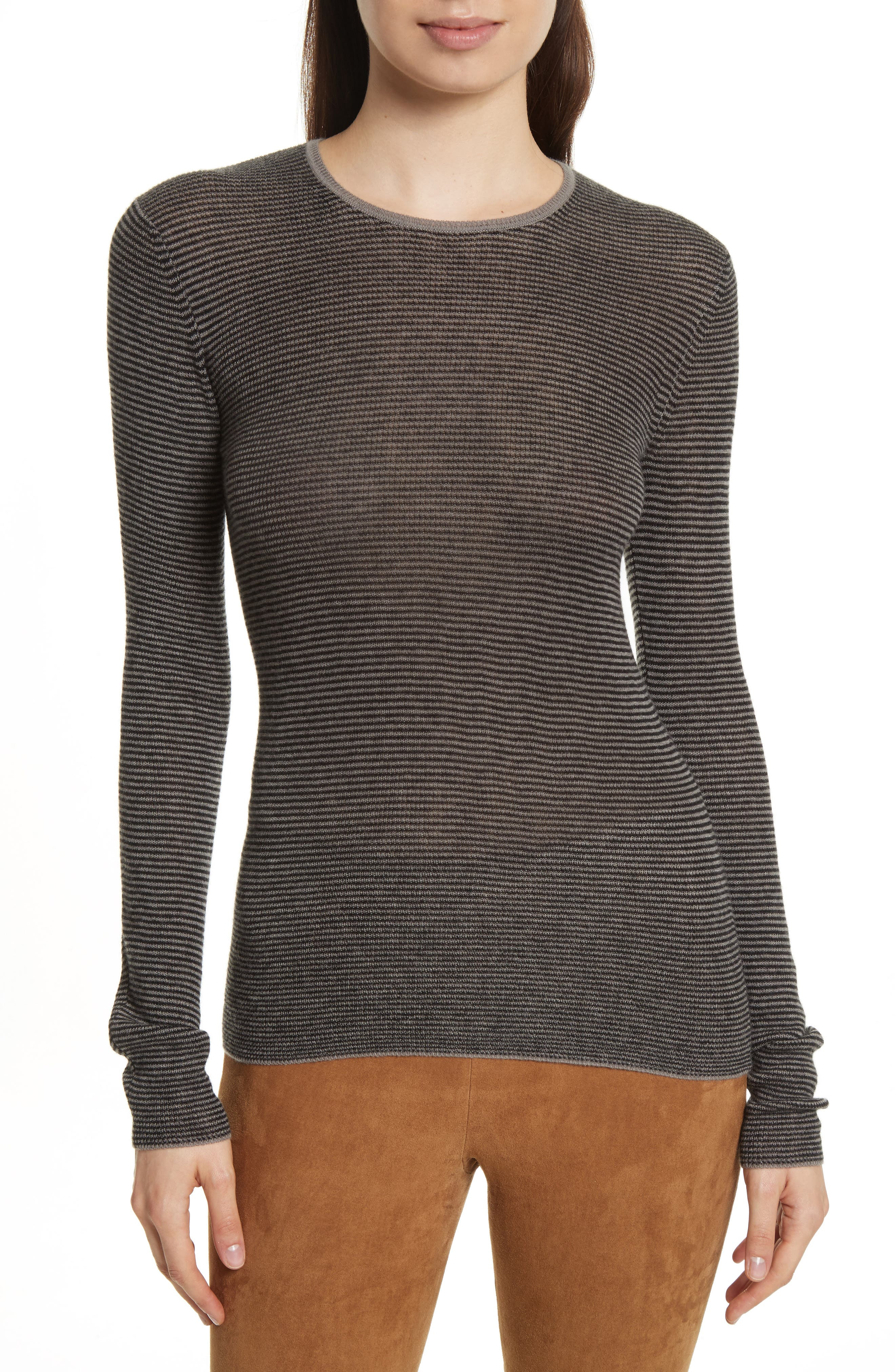 Alternate Image 1 Selected - Vince Stripe Skinny Ribbed Cashmere Sweater