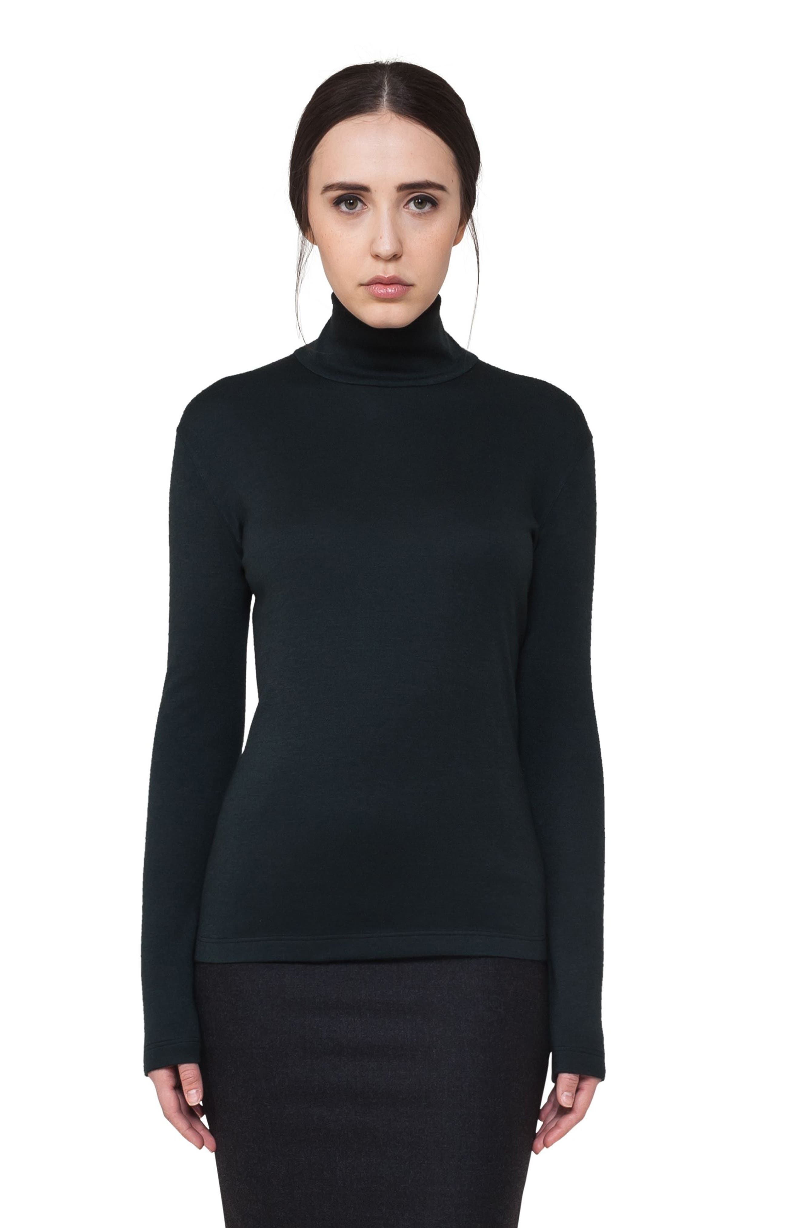Cashmere & Silk Jersey Turtleneck Top,                         Main,                         color, Shadow