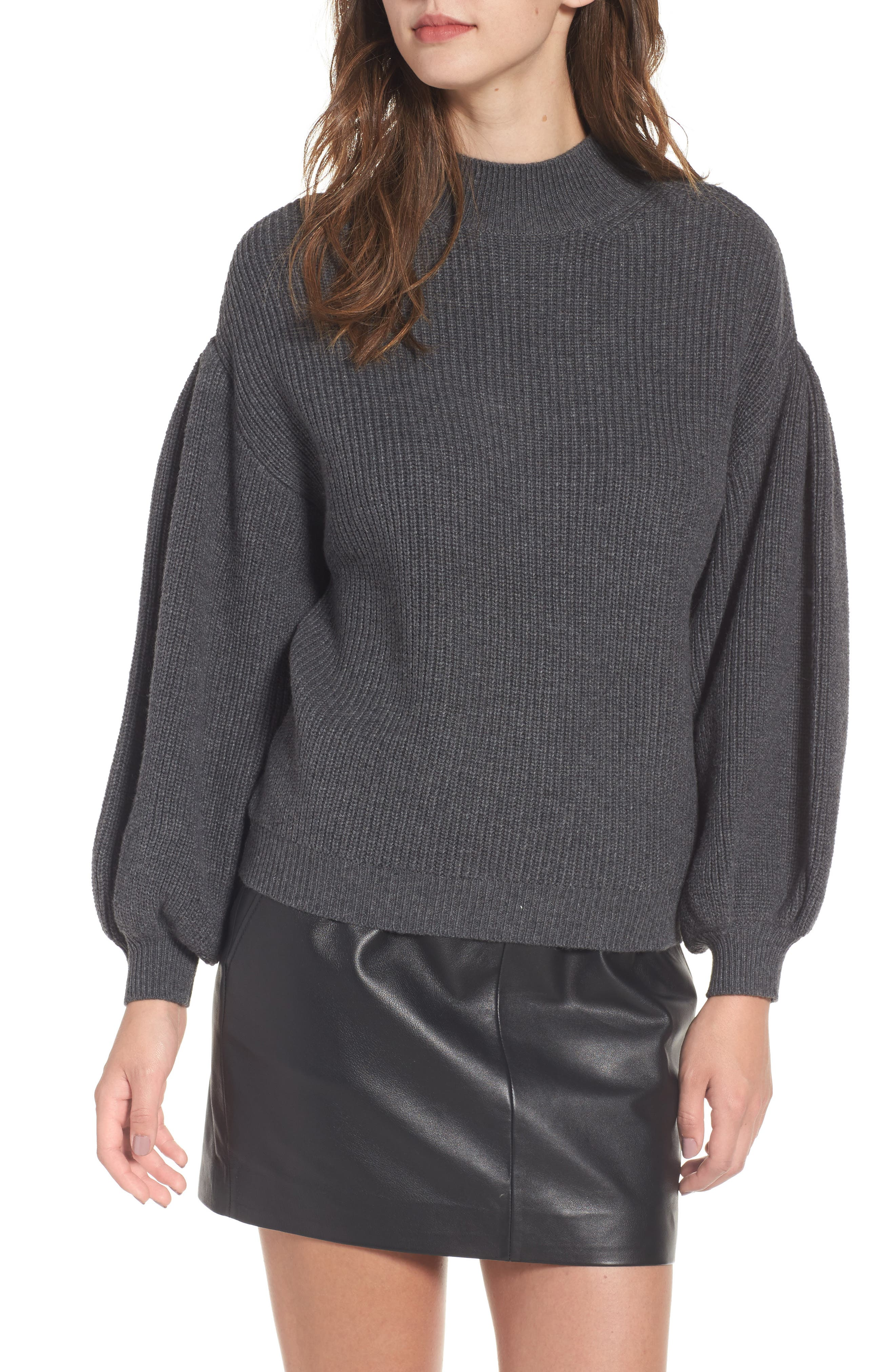 Blouson Sleeve Sweater,                             Main thumbnail 1, color,                             Grey Medium Charcoal Heather