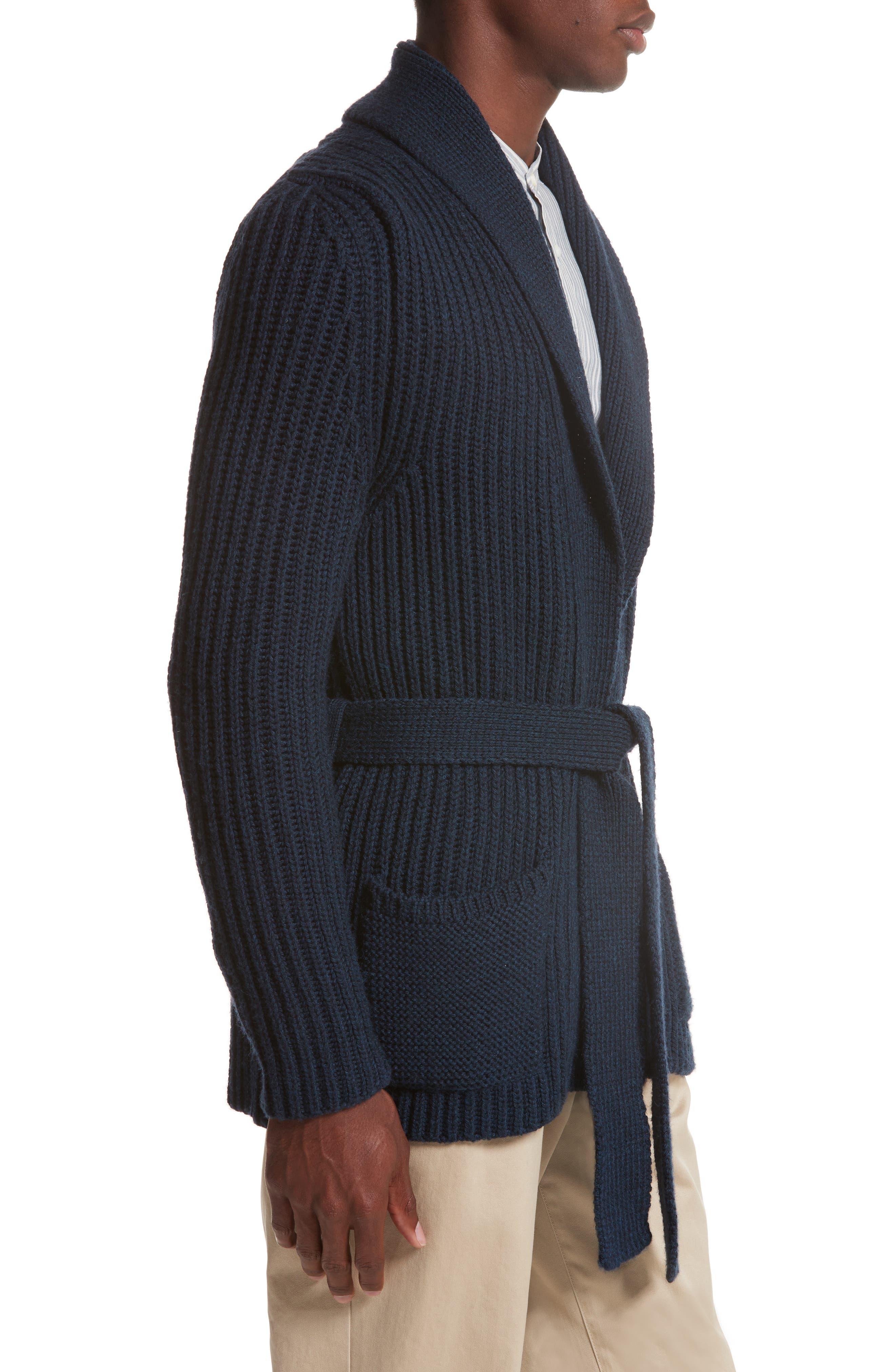 Belted English Rib Shawl Collar Cardigan,                             Alternate thumbnail 3, color,                             Deep Well