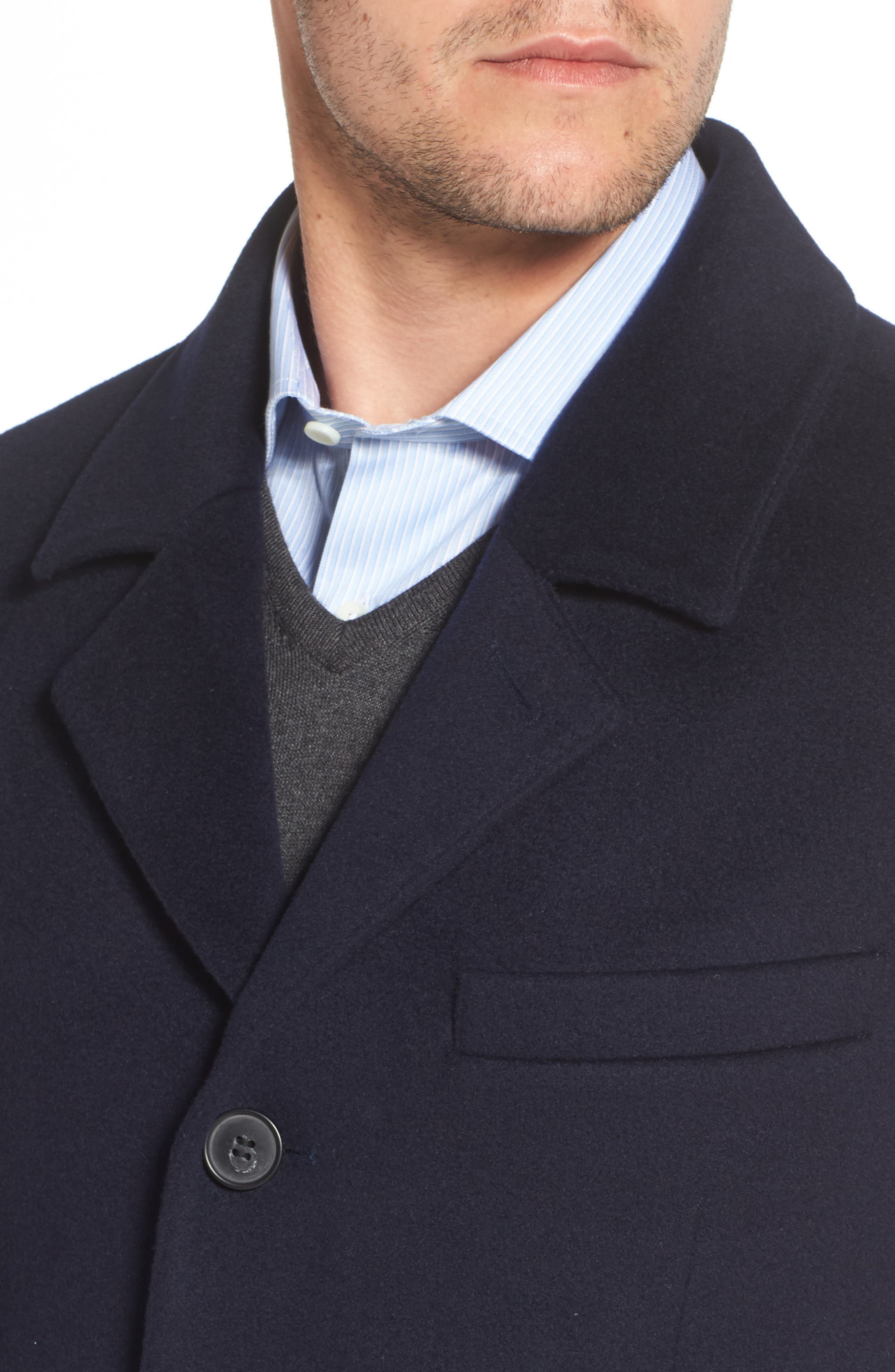 Lambswool Topcoat,                             Alternate thumbnail 4, color,                             Navy