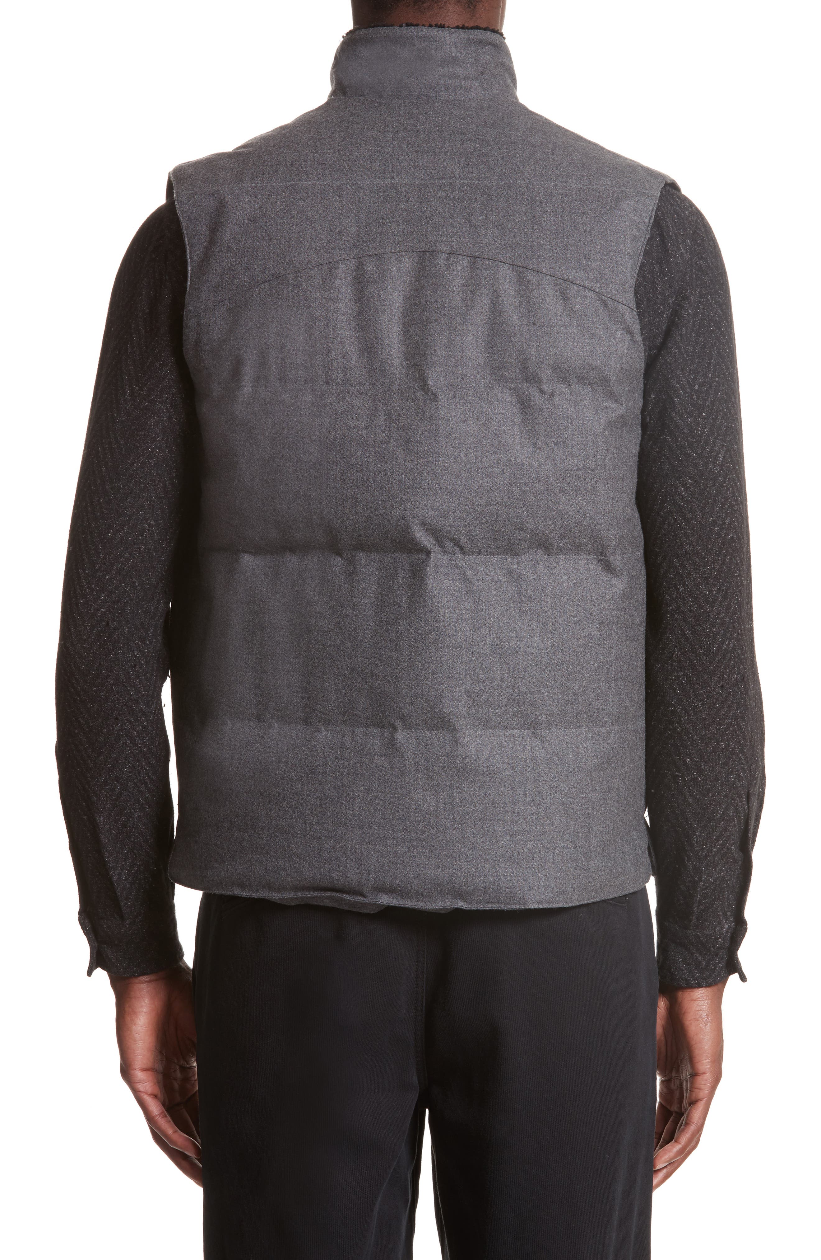 Water Resistant Wool Down Vest with Genuine Shearling Collar,                             Alternate thumbnail 2, color,                             Grey