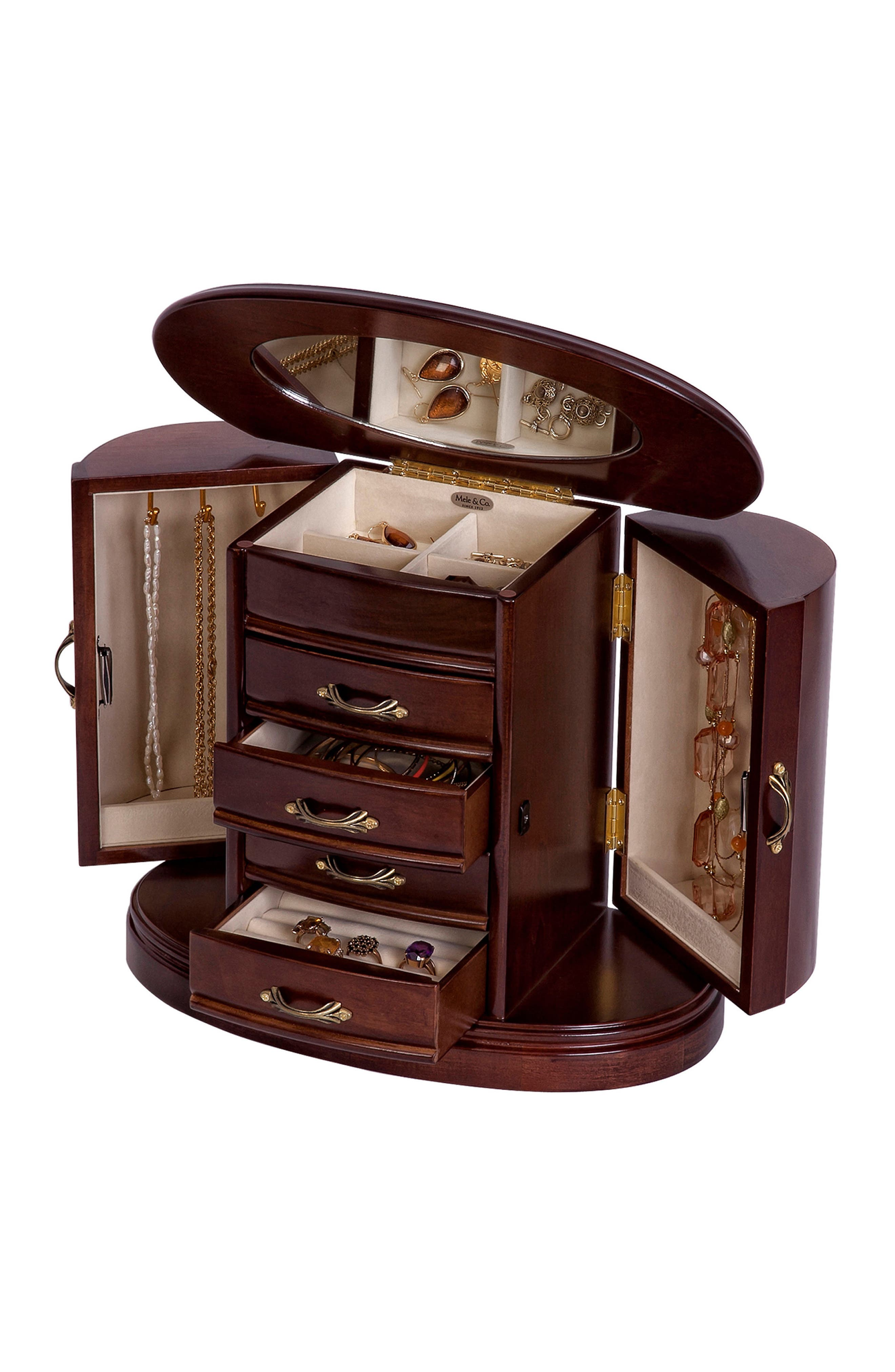 Heloise Wooden Jewelry Box,                             Alternate thumbnail 2, color,                             Brown