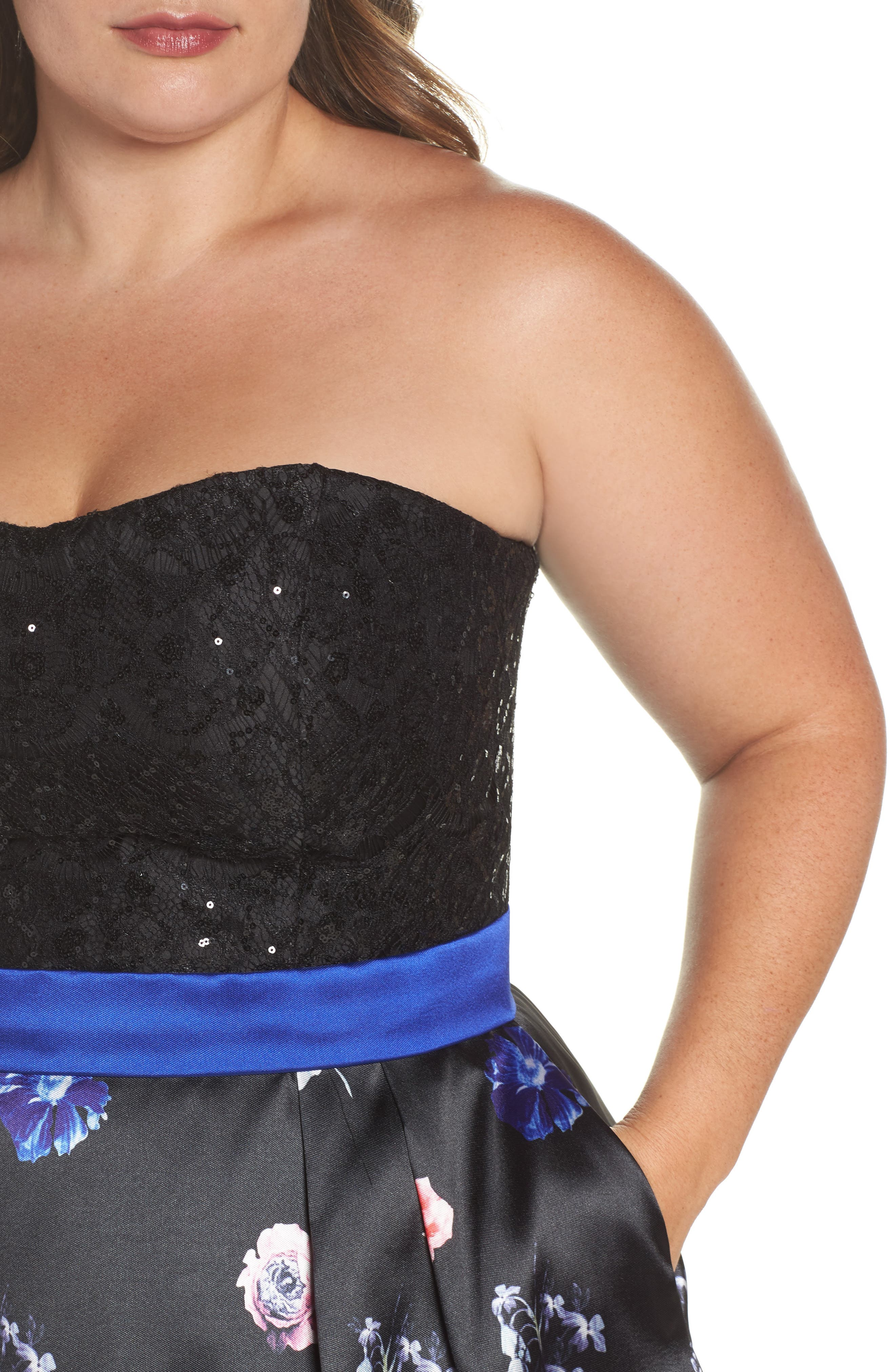 Floral Print Strapless Fit & Flare Dress,                             Alternate thumbnail 4, color,                             Black/ Multi