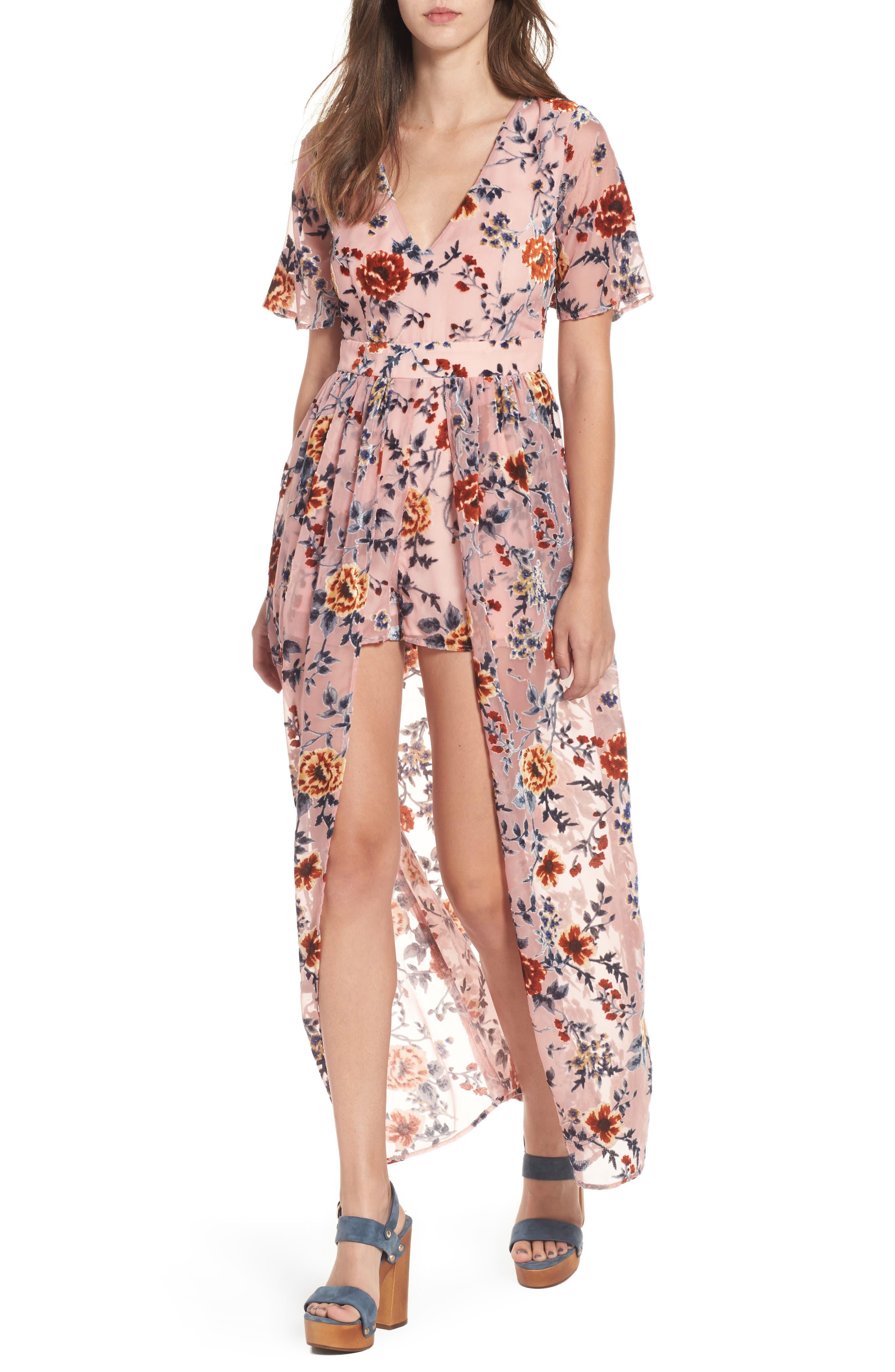 Main Image - Socialite Burnout Floral Maxi Romper
