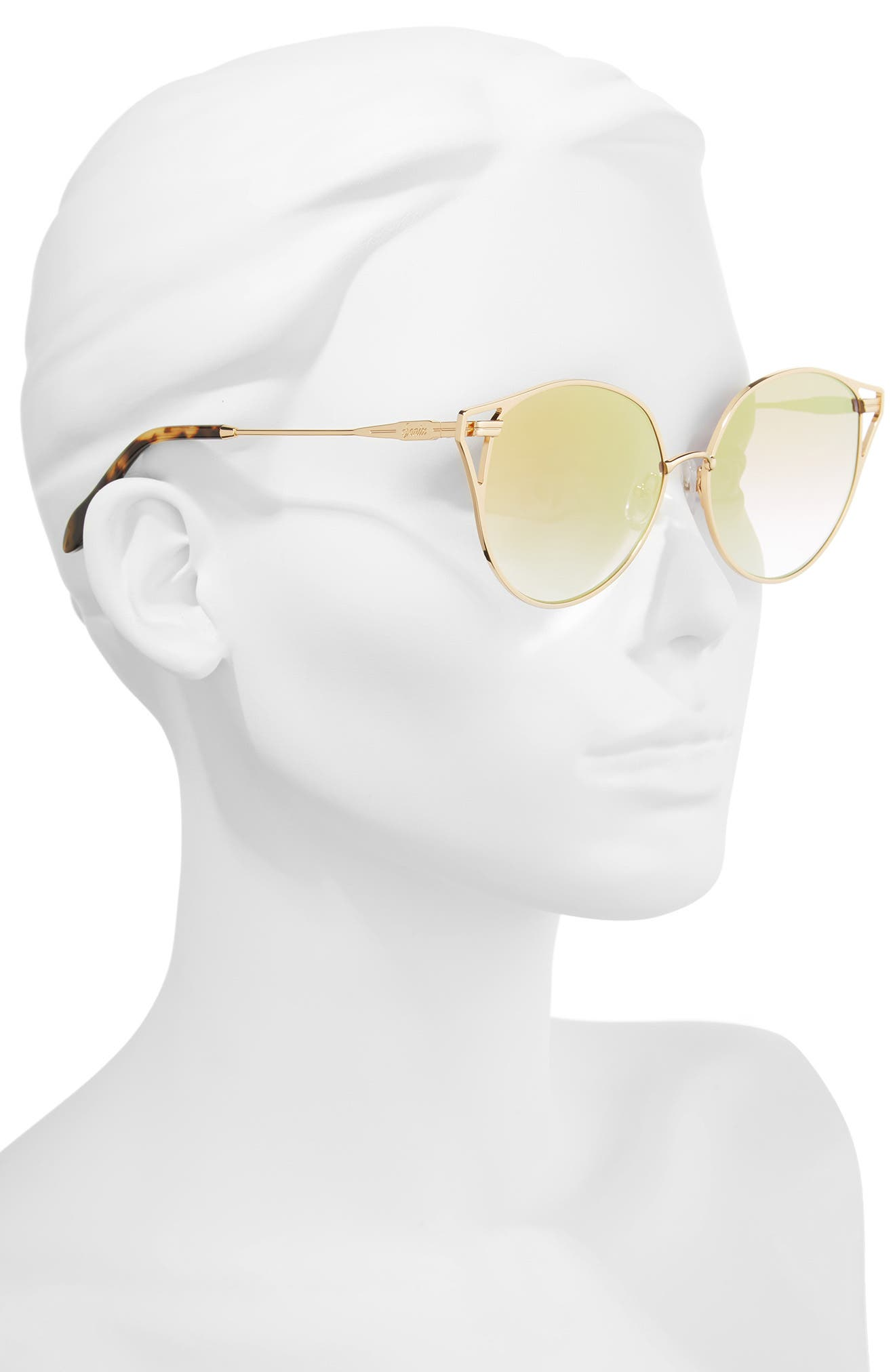 Ibiza 55mm Cat Eye Sunglasses,                             Alternate thumbnail 2, color,                             Gold Wire/ Amber Mirror