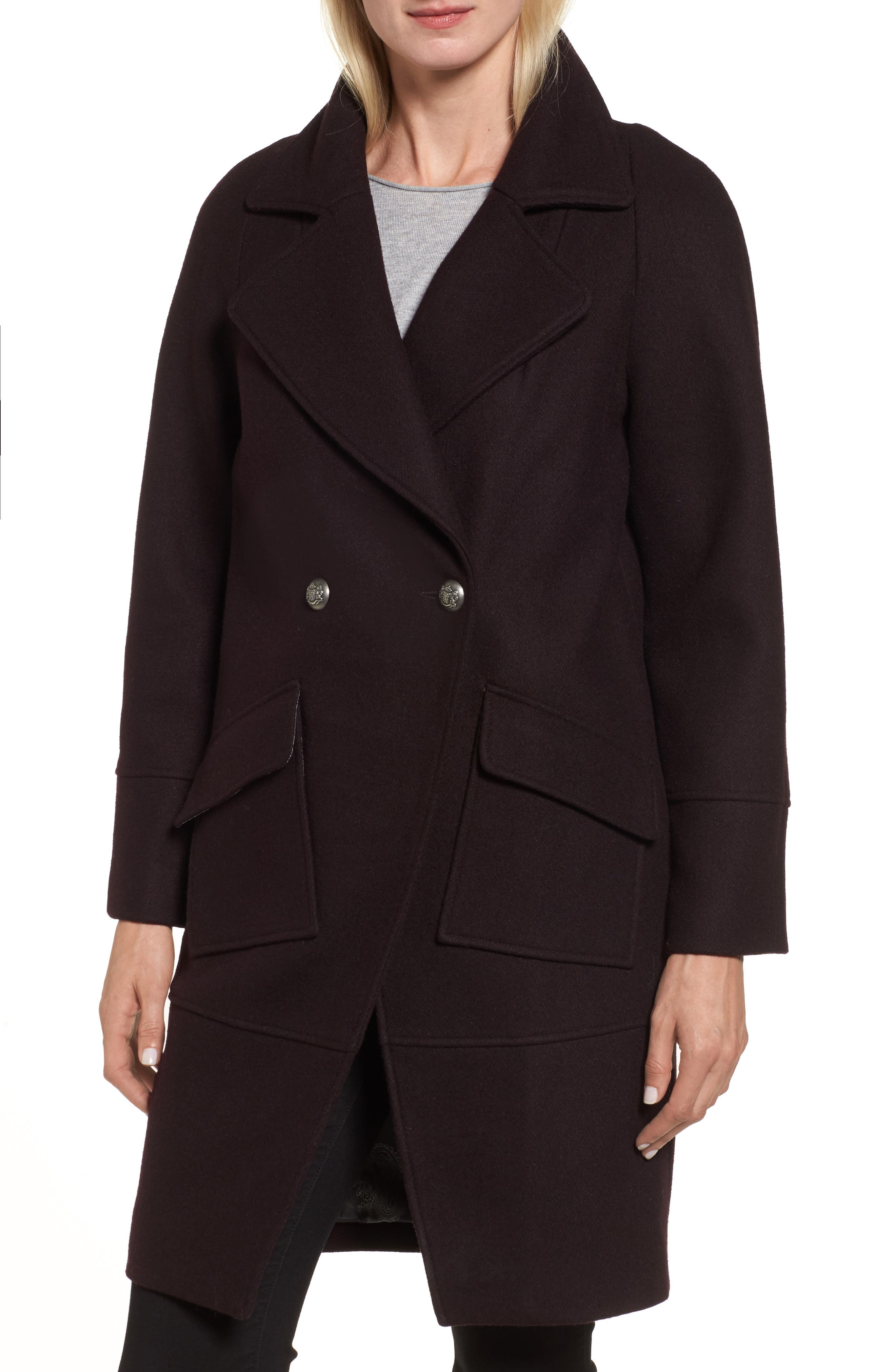 Double Breasted Coat,                         Main,                         color, Grape