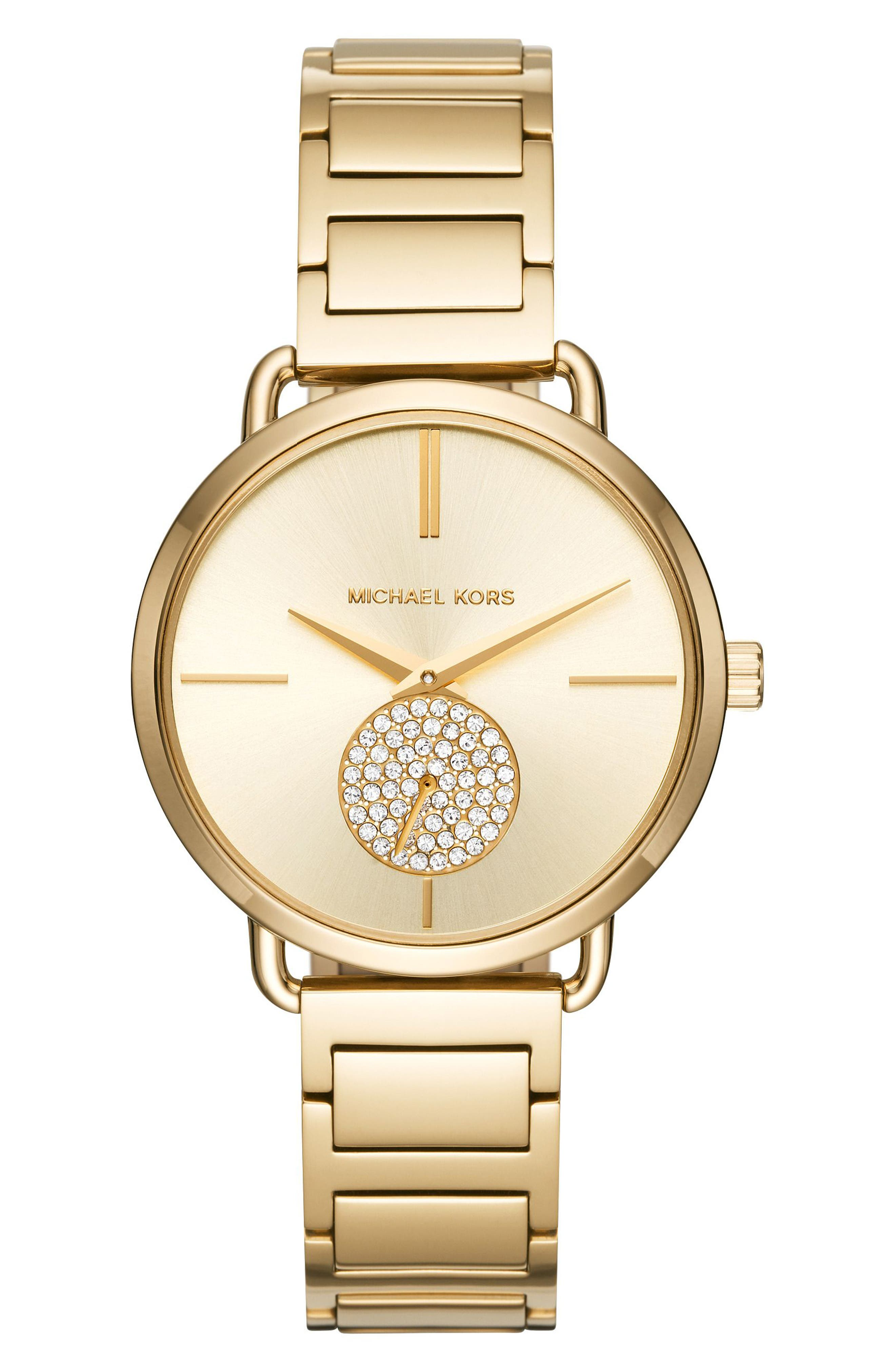 Portia Round Bracelet Watch, 36.5mm,                             Main thumbnail 1, color,                             Gold