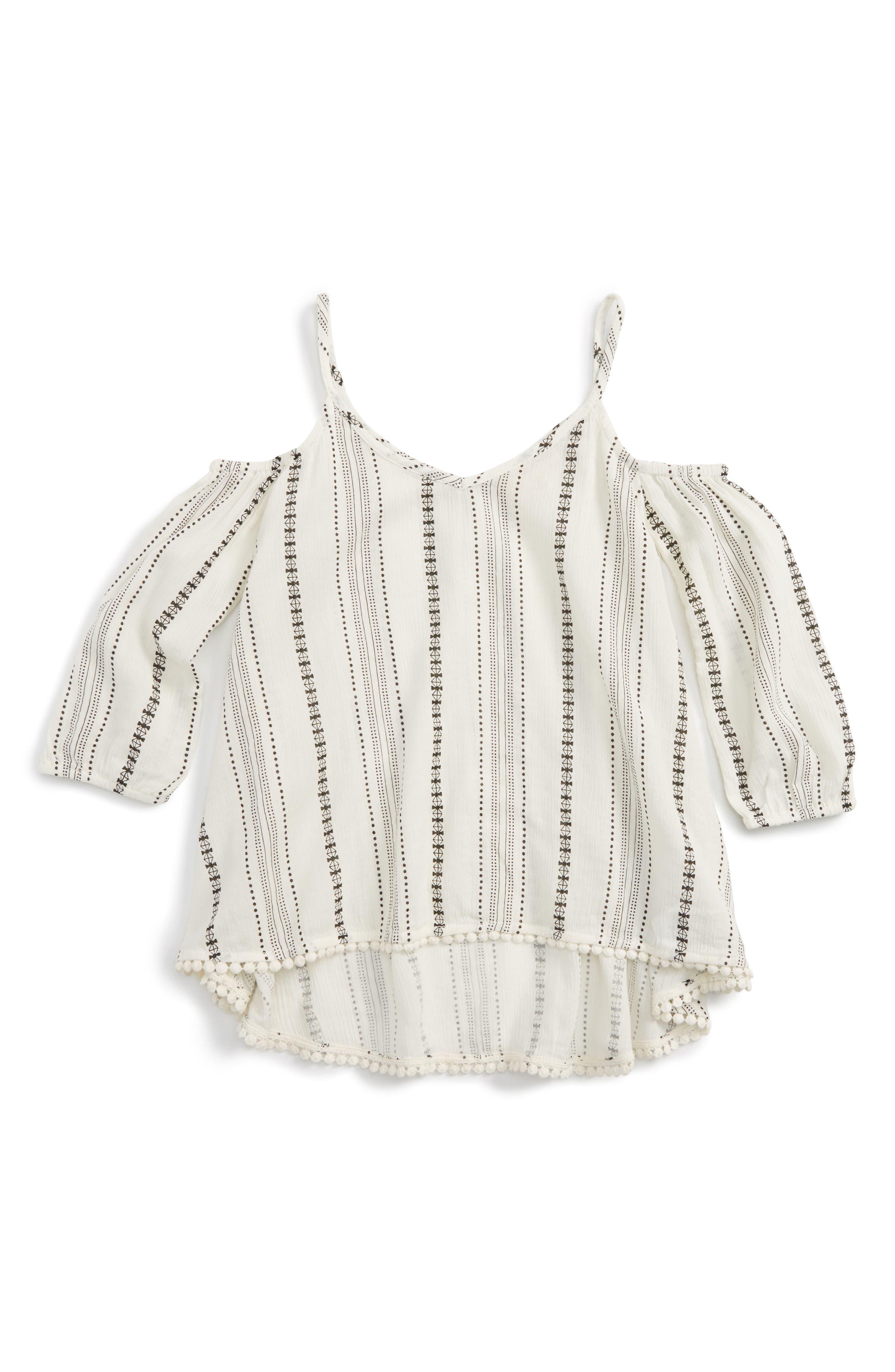 Cold Shoulder Top,                         Main,                         color, Ivory Egret Pattern Stripe