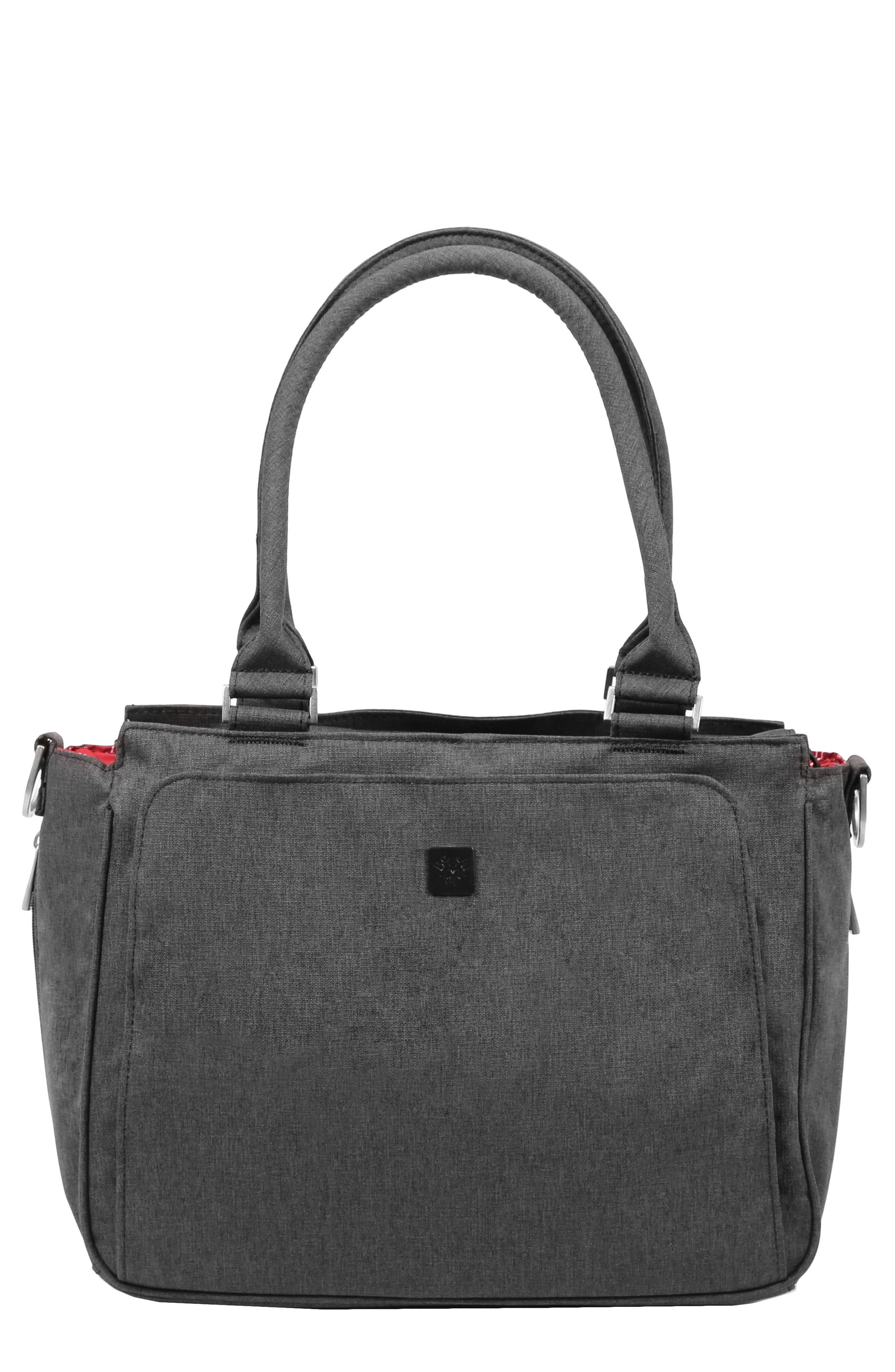 'Be Classy - Onyx Collection' Messenger Diaper Bag,                         Main,                         color, Chrome