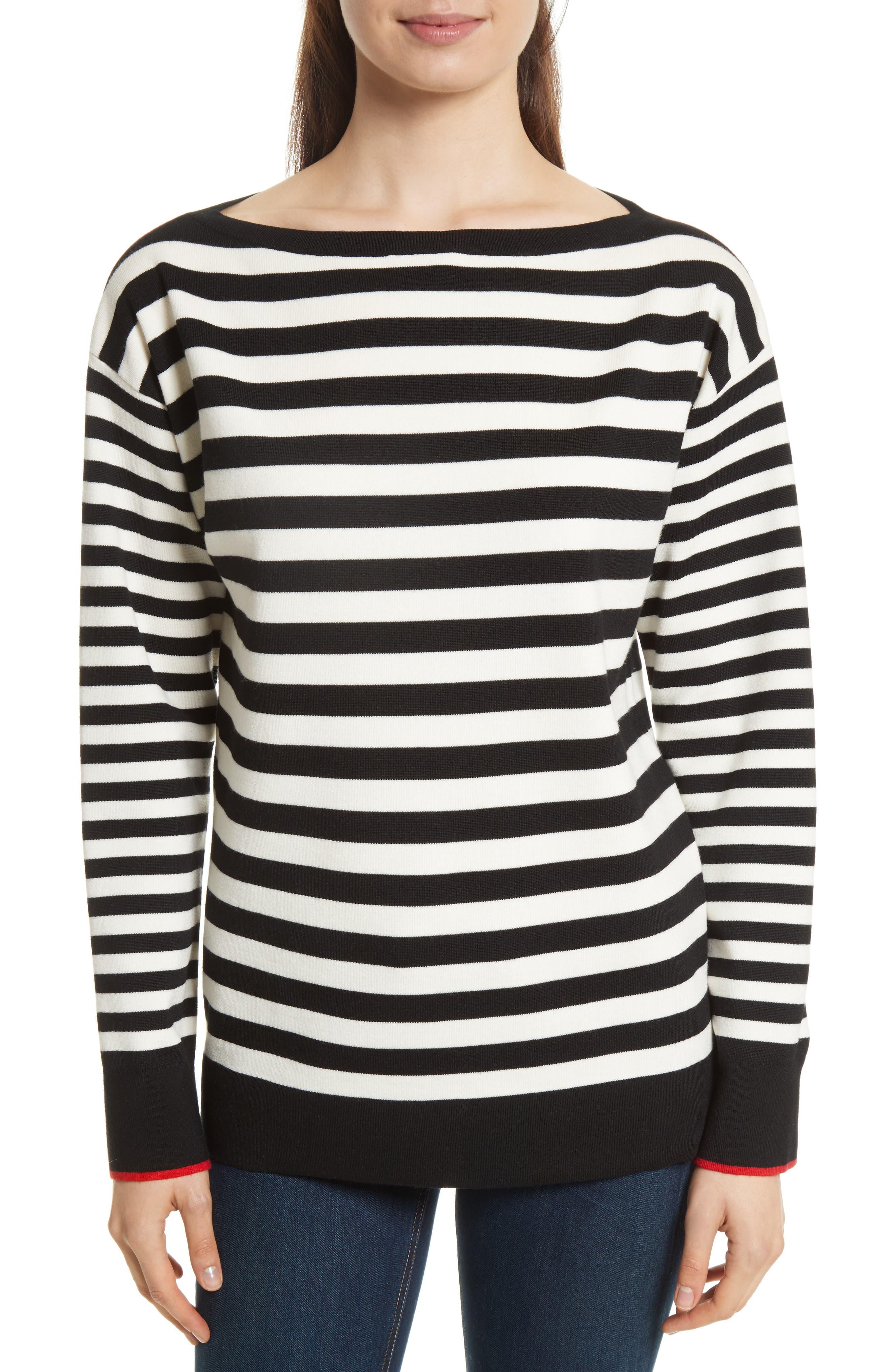 GREY JASON WU Stripe Off the Shoulder Knit Sweater