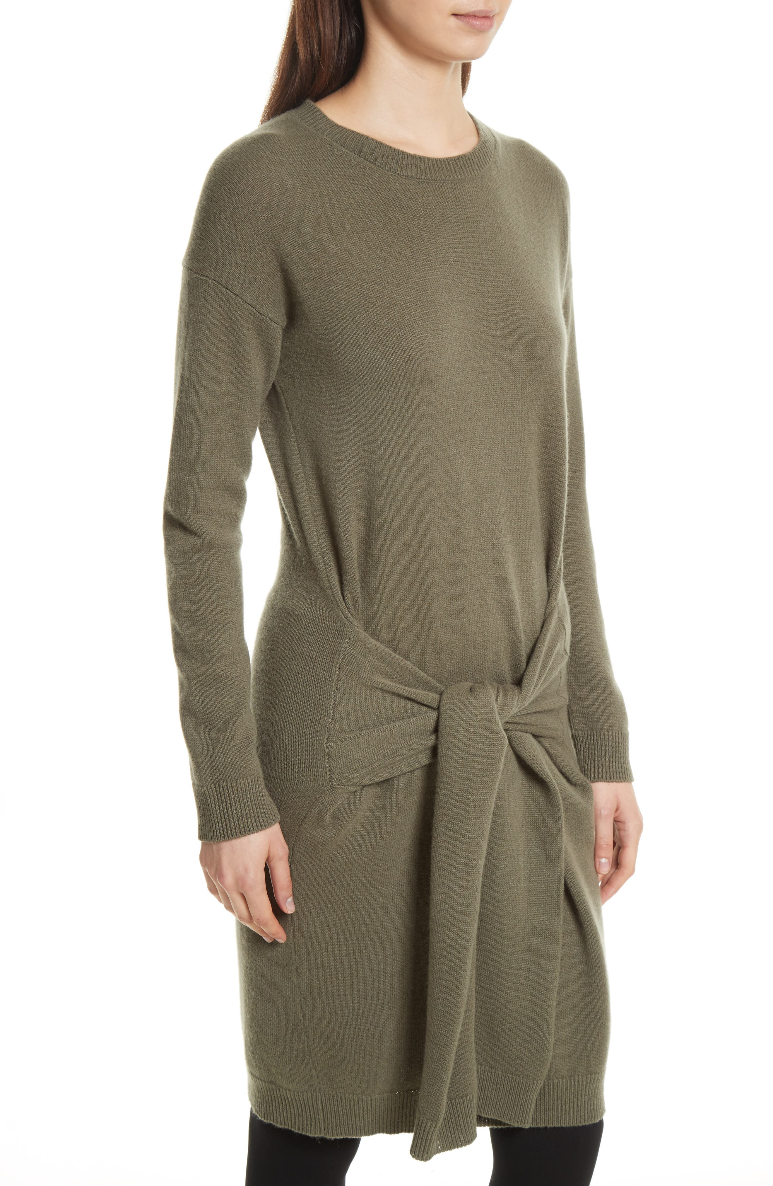 Long Sleeve Tie Waist Sweater Dress,                             Alternate thumbnail 4, color,                             Olivewood