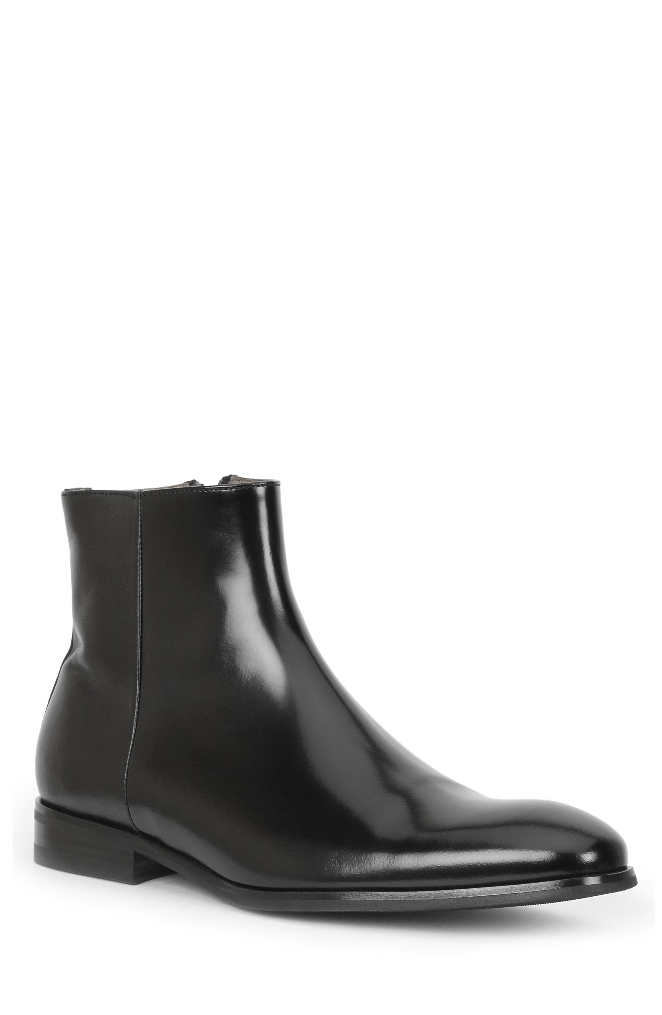 Nuncio Zip Boot,                         Main,                         color, Black Leather