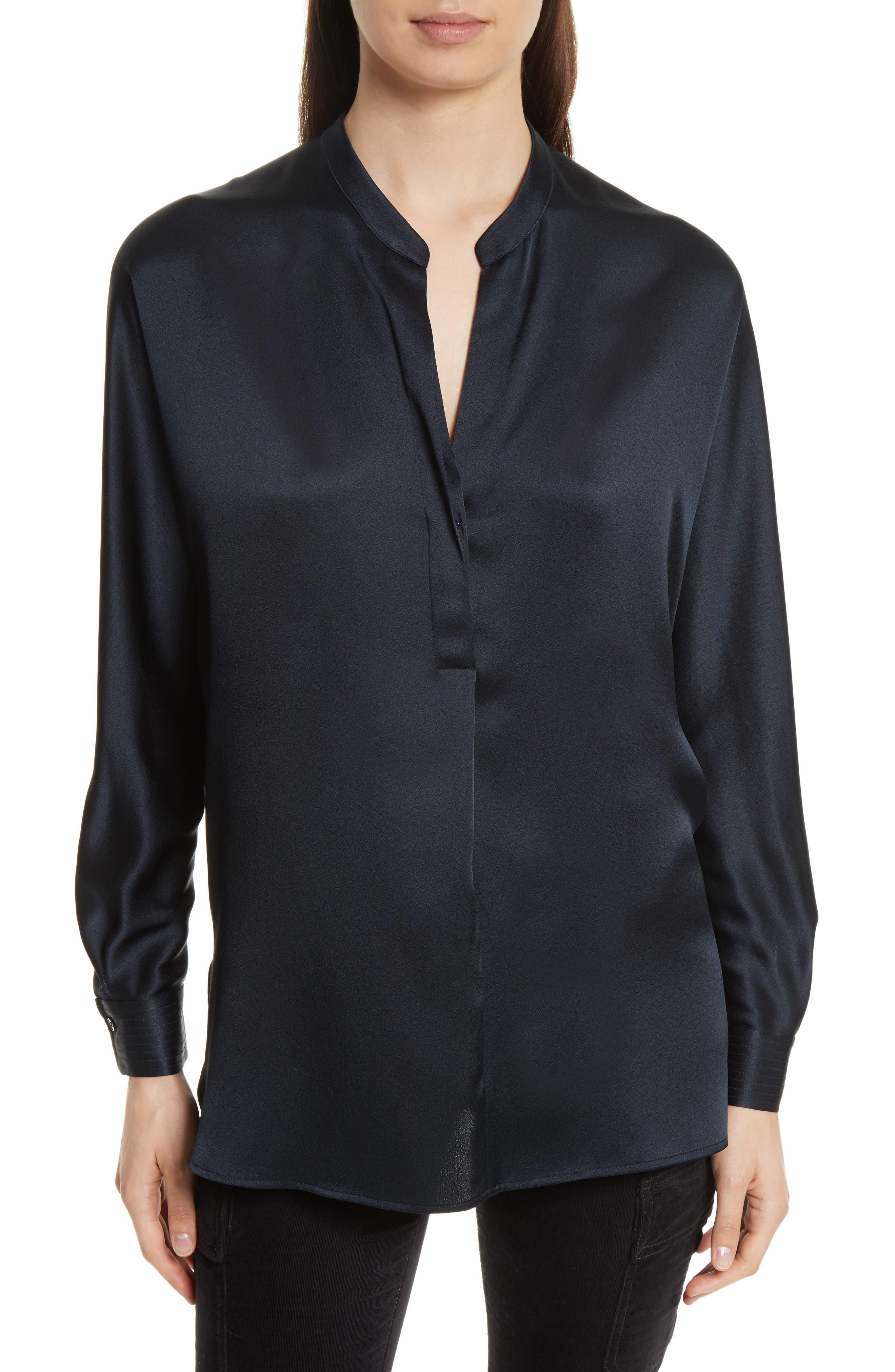 Band Collar Silk Blouse,                         Main,                         color, Coastal