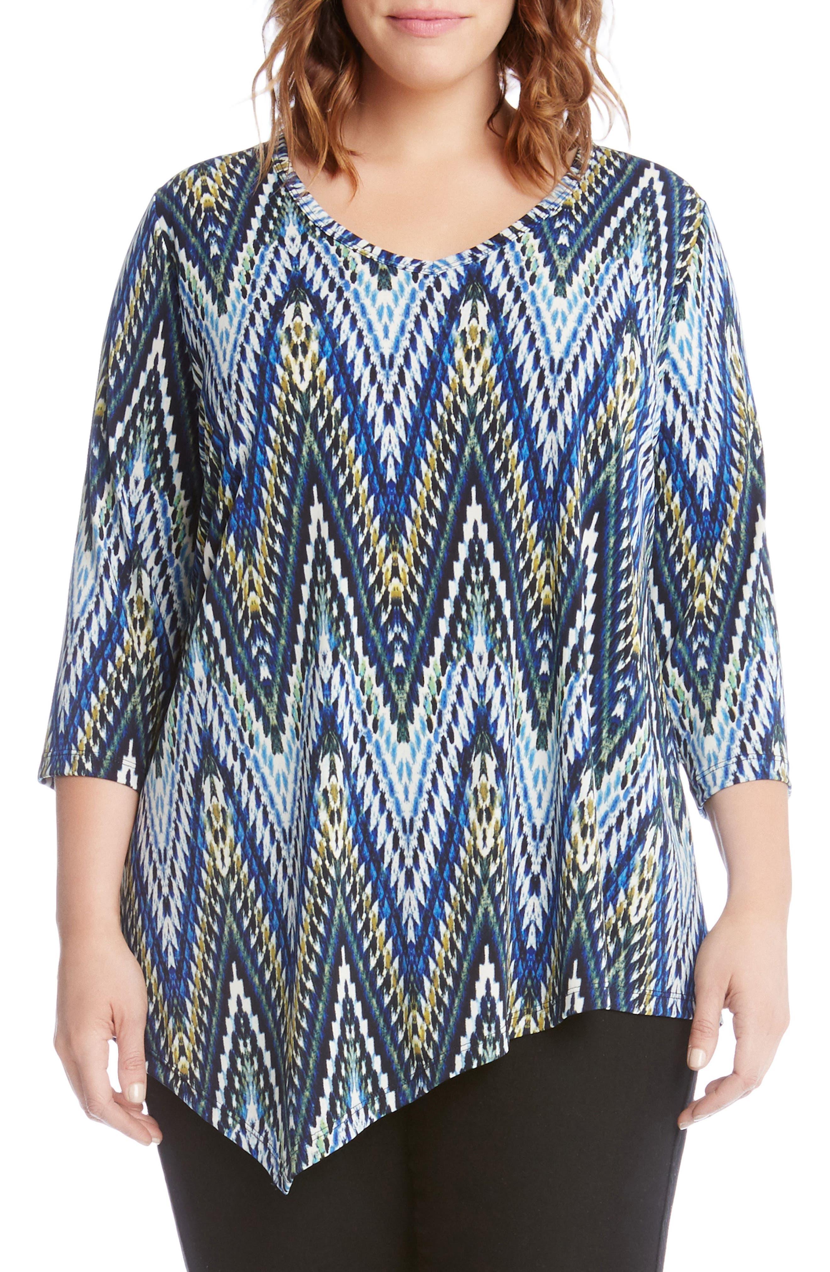 Alternate Image 1 Selected - Karen Kane Asymmetrical Hem Top (Plus Size)
