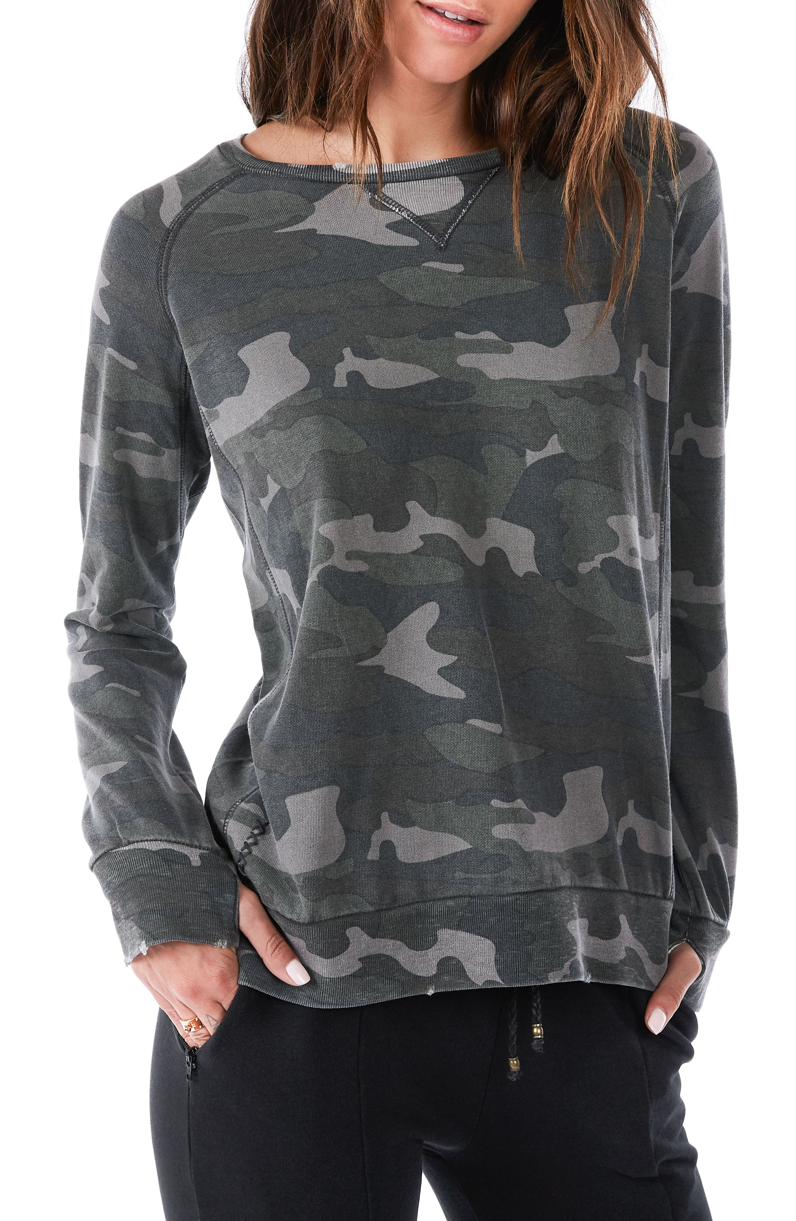 Distressed Camo Sweatshirt,                             Main thumbnail 1, color,                             Army Camo