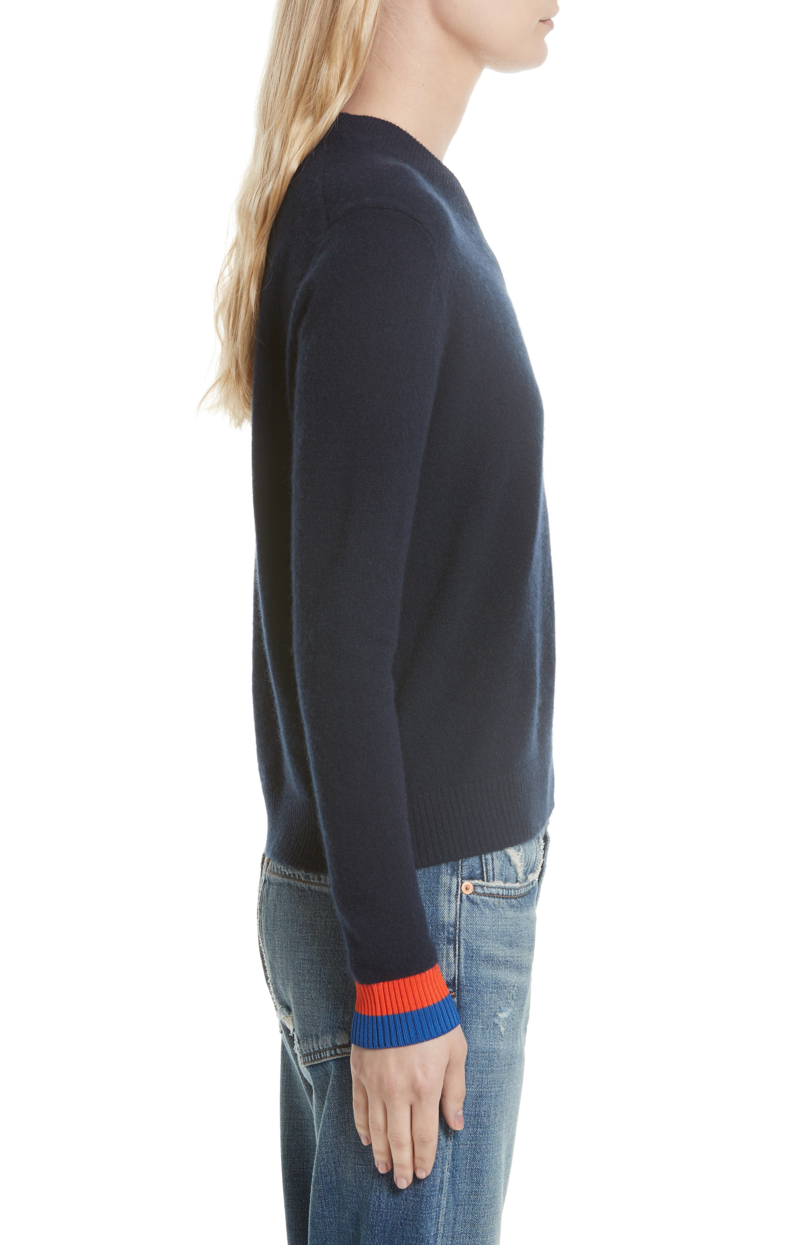 Cashmere Sweater,                             Alternate thumbnail 3, color,                             Navy