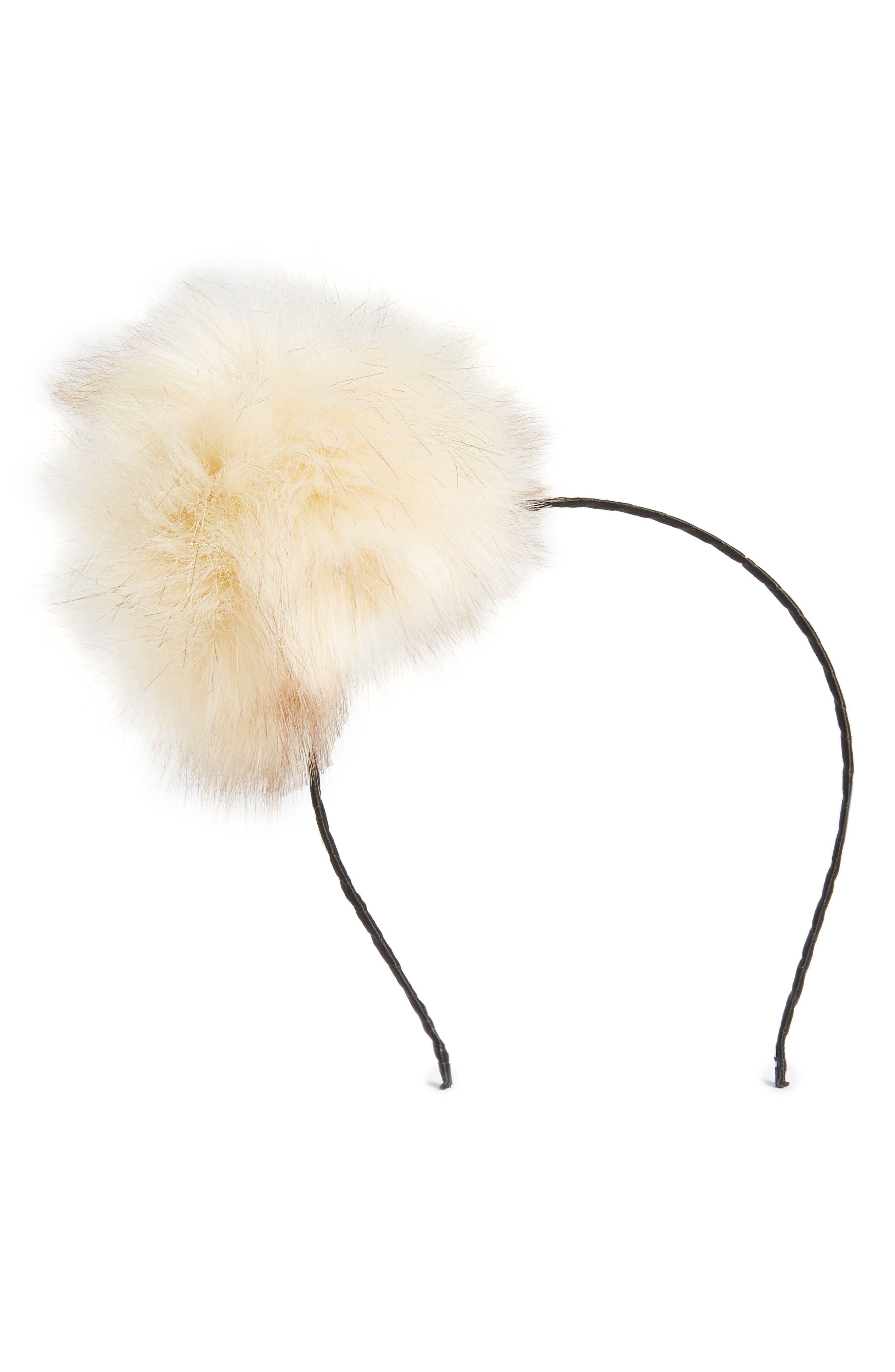 Faux Fur Pouf Headband,                             Main thumbnail 1, color,                             Champagne