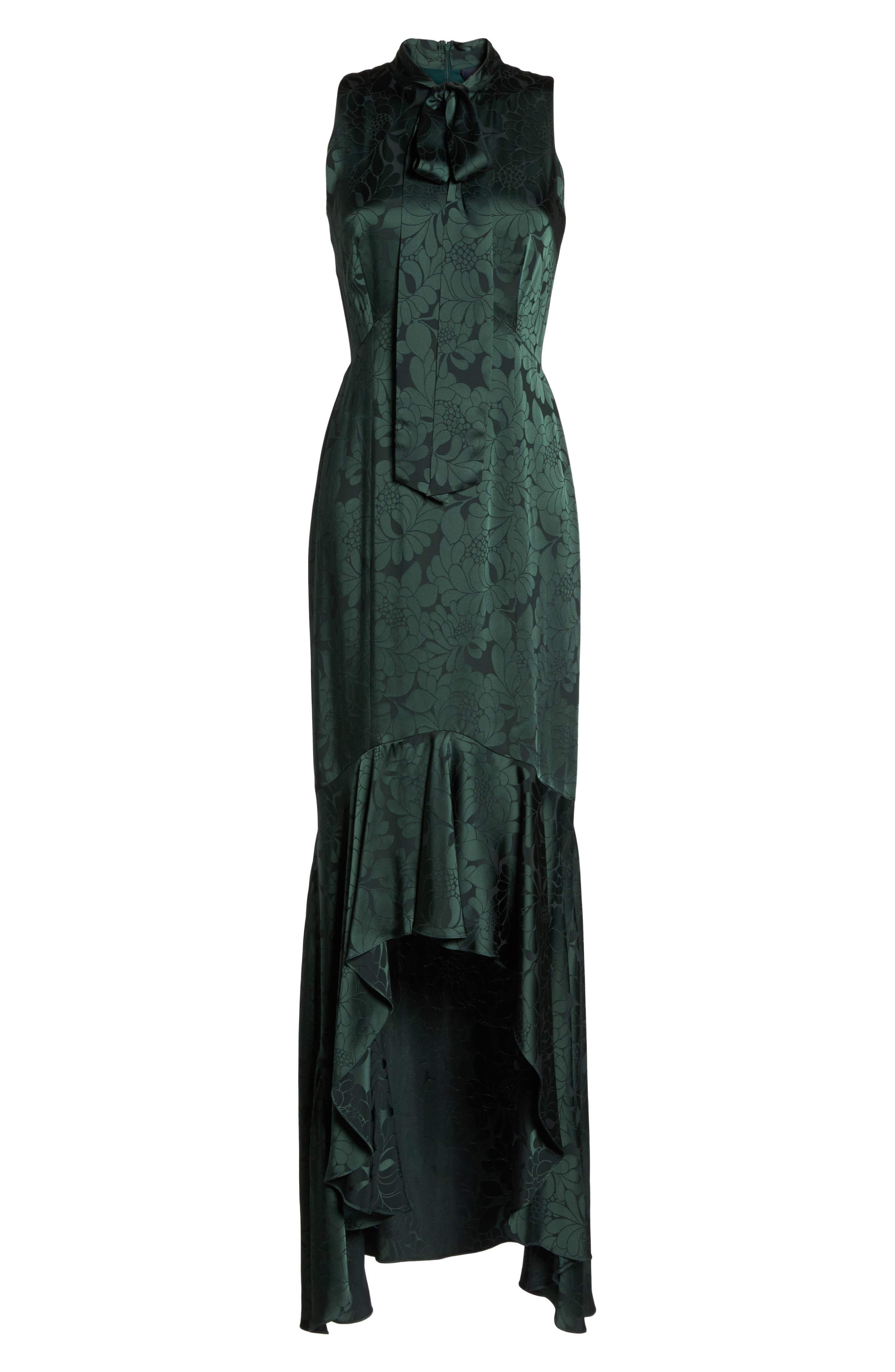 Mayburn Jacquard High/Low Gown,                             Alternate thumbnail 6, color,                             Dark Green