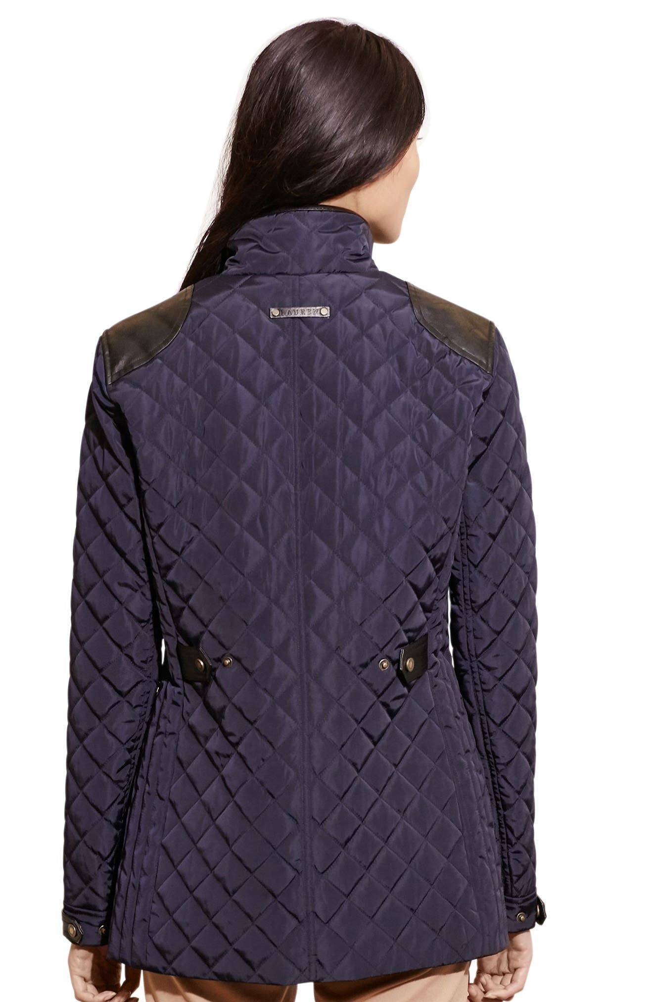 Diamond Quilted Jacket with Faux Leather Trim,                             Alternate thumbnail 3, color,                             Dark Navy