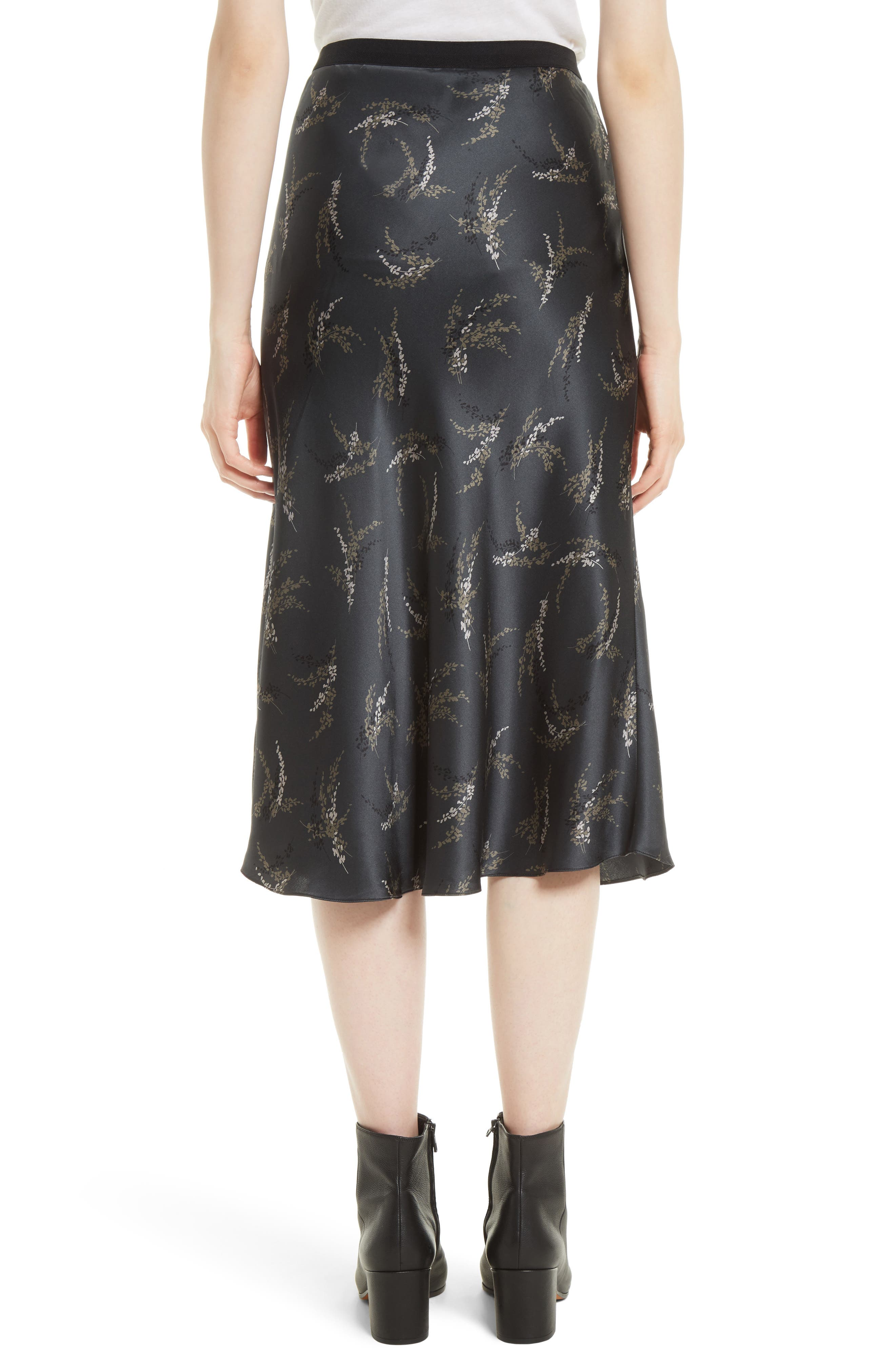 Spring Floral Pull-On Silk Midi Skirt,                             Alternate thumbnail 3, color,                             Charcoal