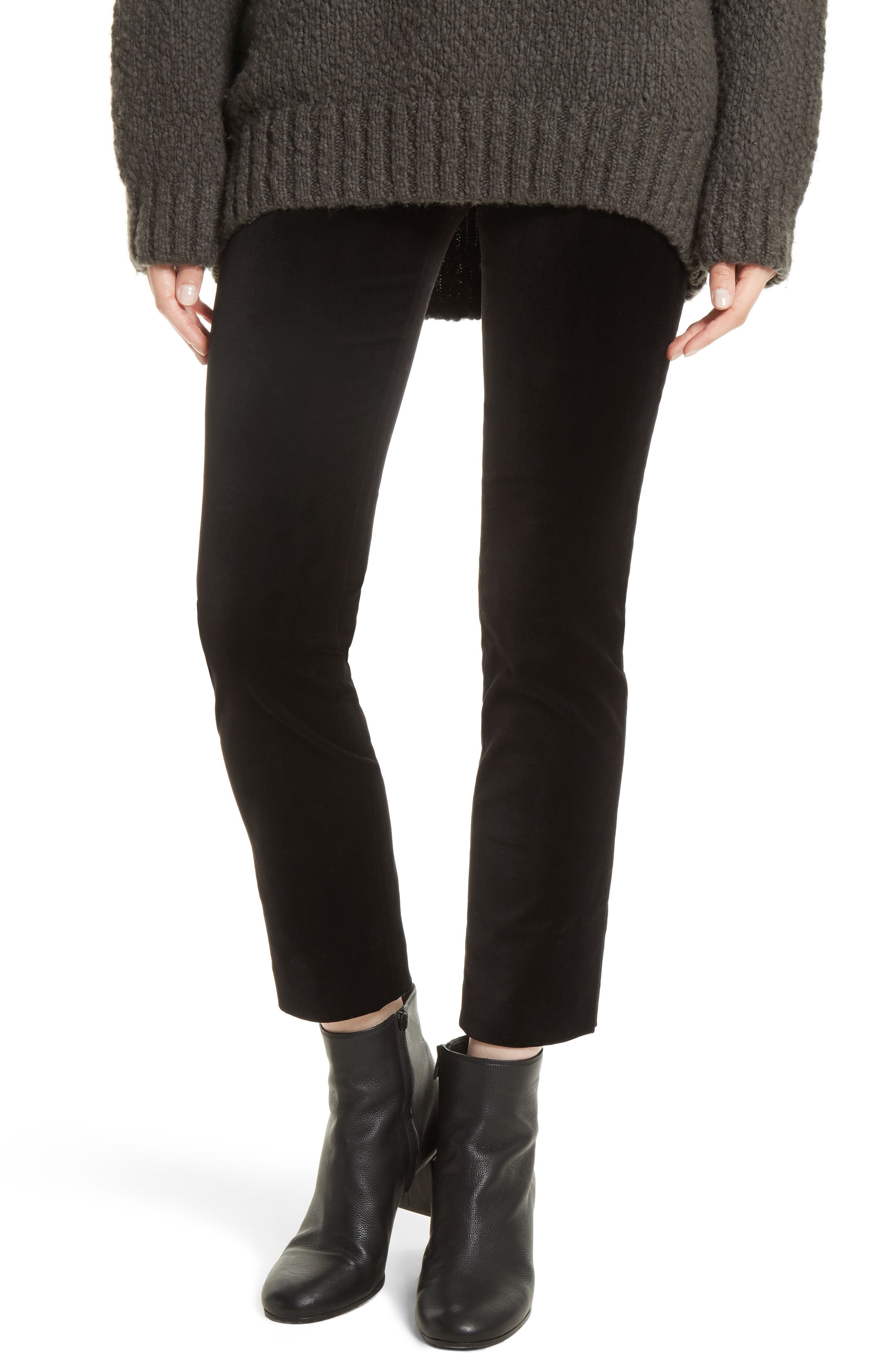 Velvet Leggings,                         Main,                         color, Black