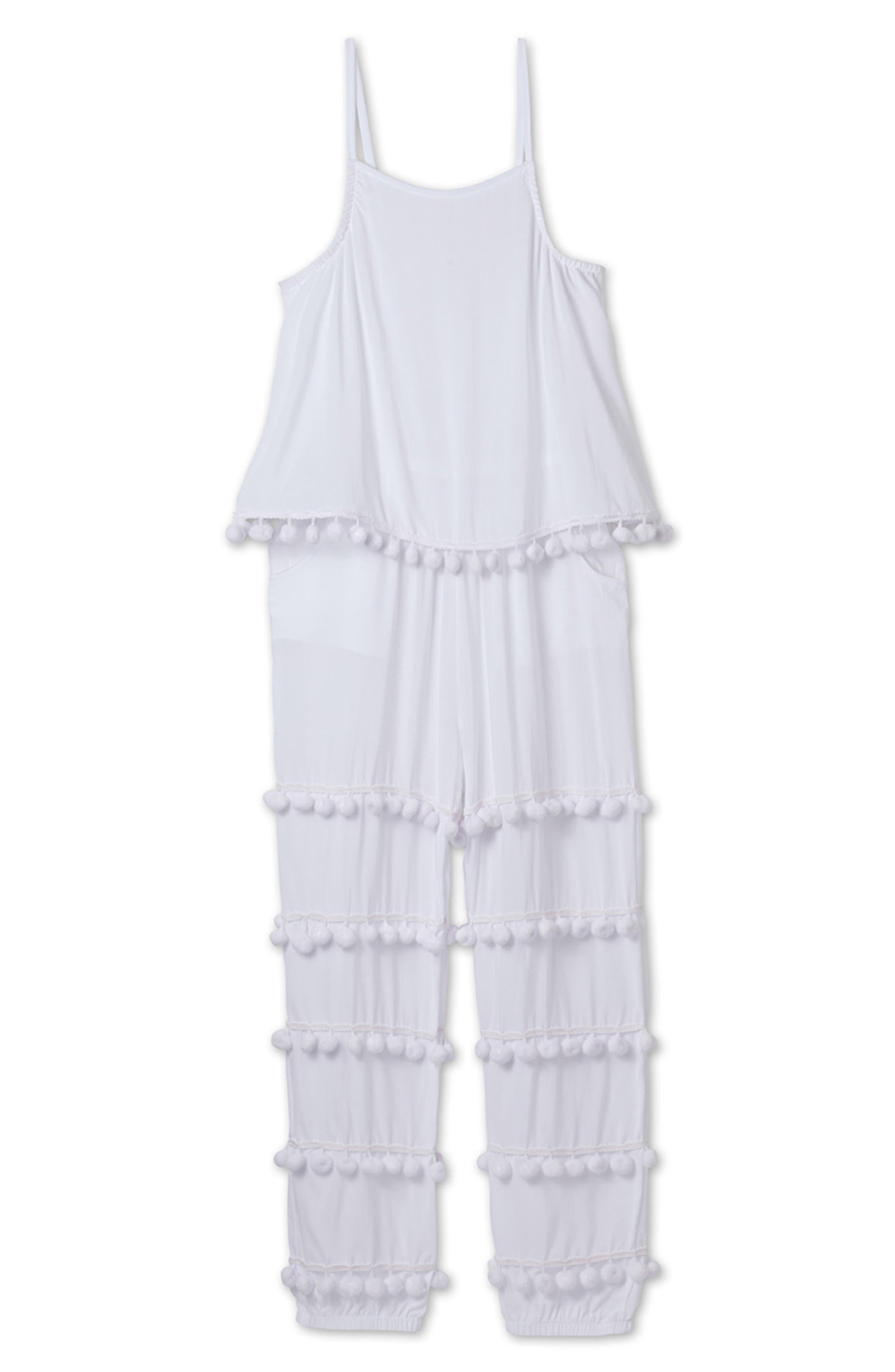 Pompom Jumpsuit,                         Main,                         color, White