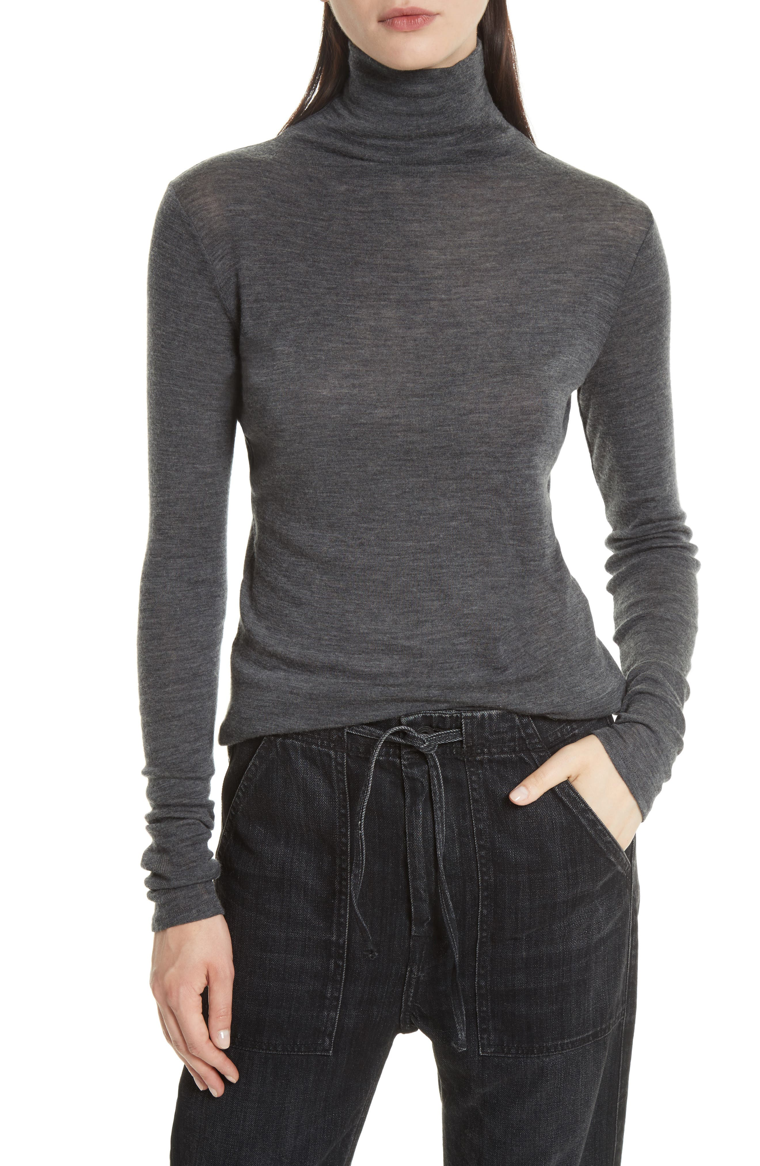 Wool Turtleneck,                         Main,                         color, Medium Heather Grey