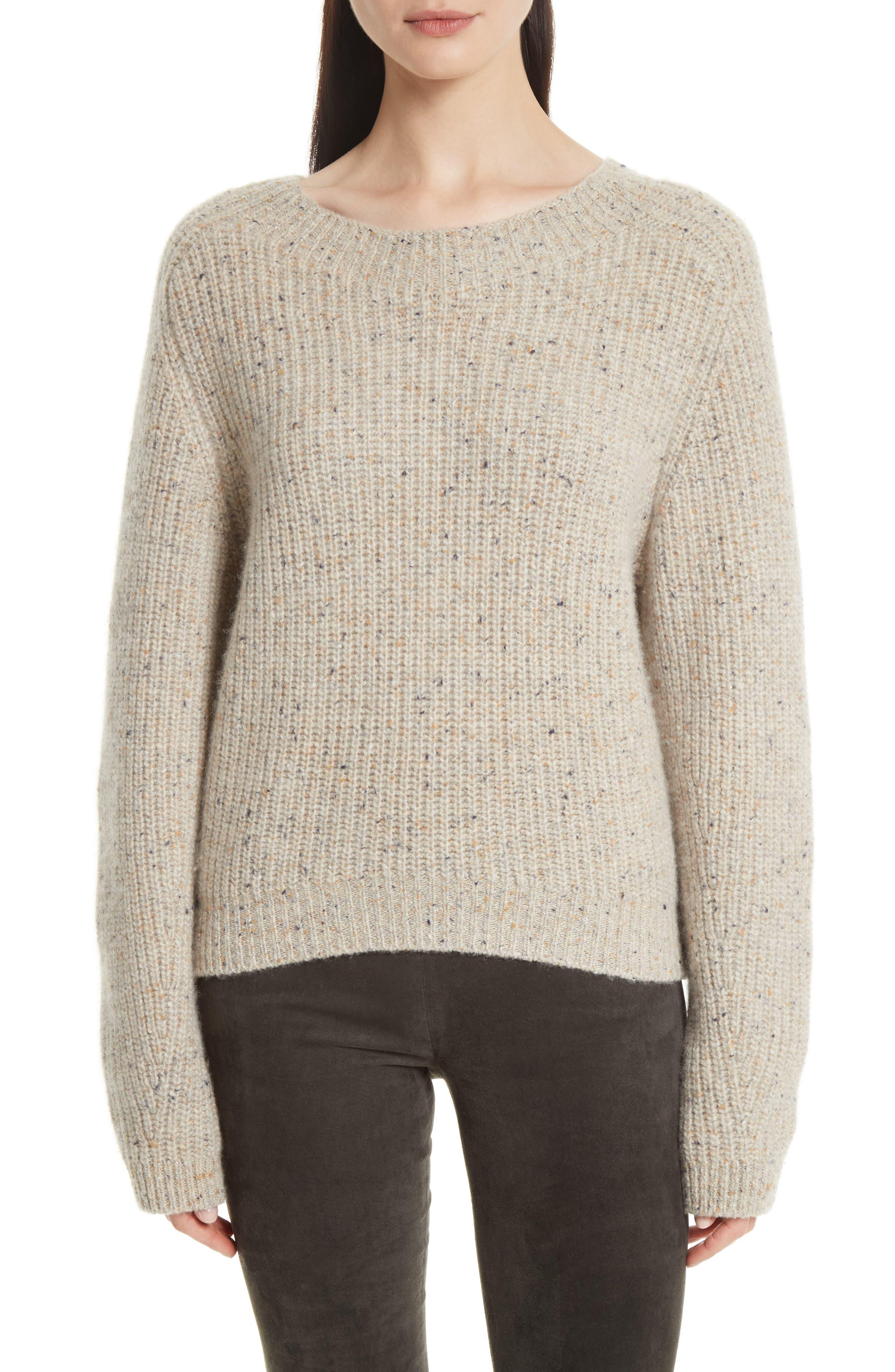 Saddle Sleeve Cashmere Sweater,                             Main thumbnail 1, color,                             Light Cream