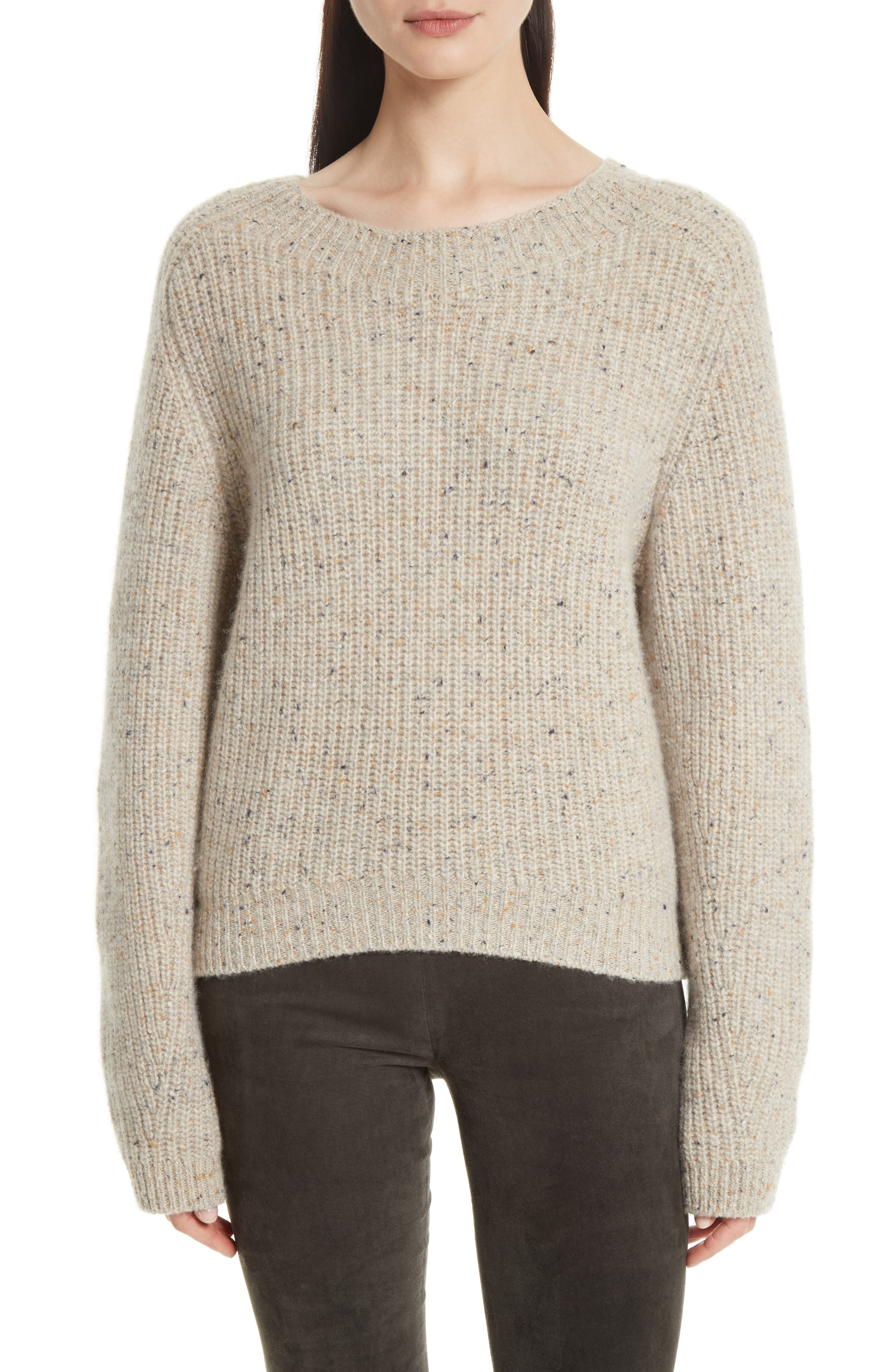 Saddle Sleeve Cashmere Sweater,                         Main,                         color, Light Cream